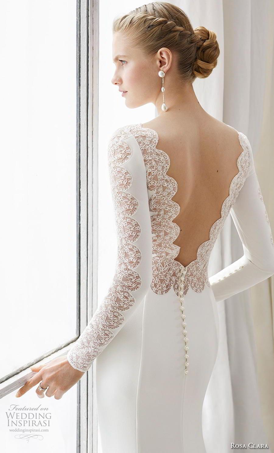 rosa clara 2019 couture bridal long sleeves bateau neckline simple minimalist elegant fit and flare sheath wedding dress v back chapel train (7) zbv