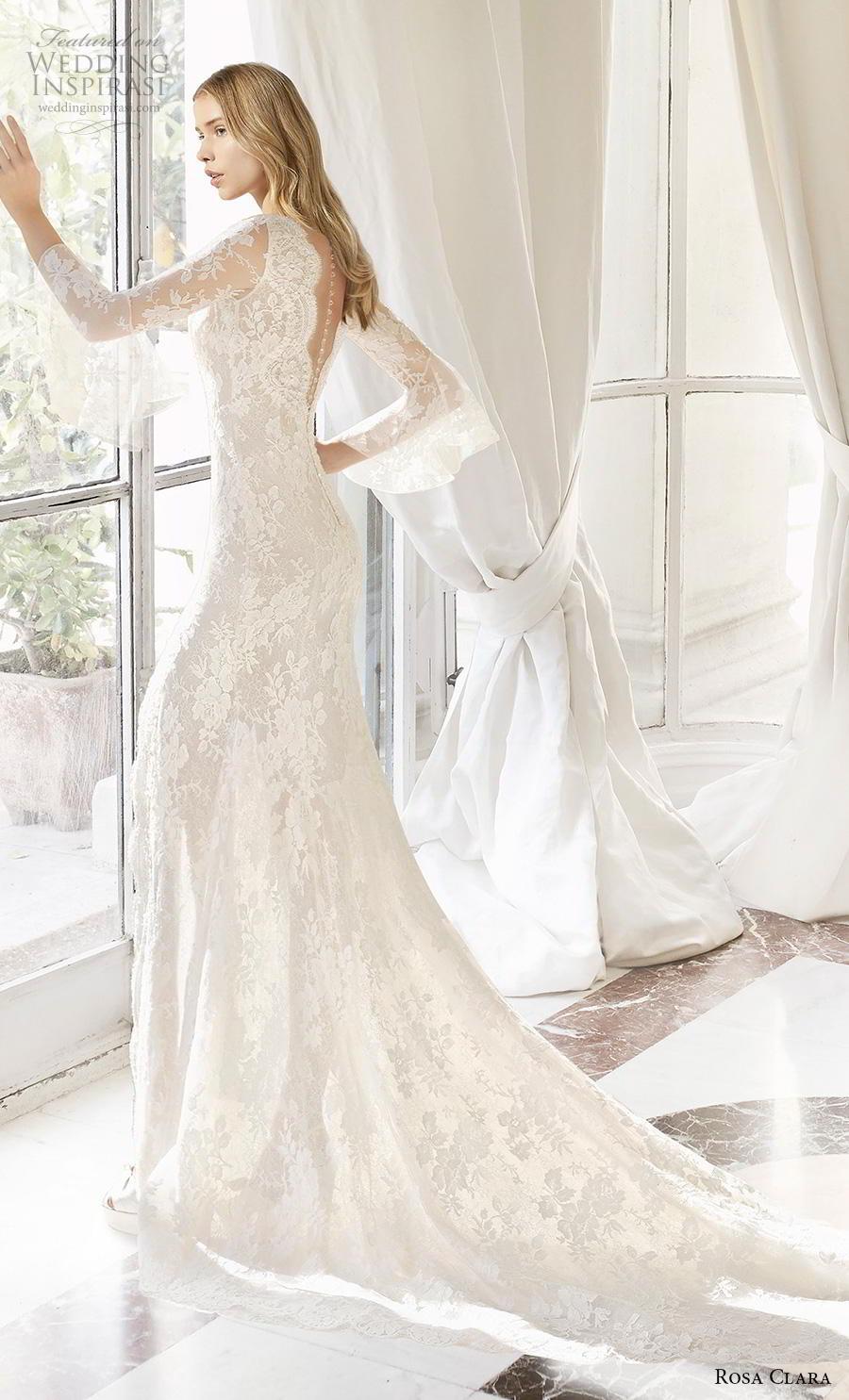 rosa clara 2019 couture bridal long sleeves deep v neck full embellishment slit skirt elegant sheath wedding dress sheer button back chapel train (13) bv