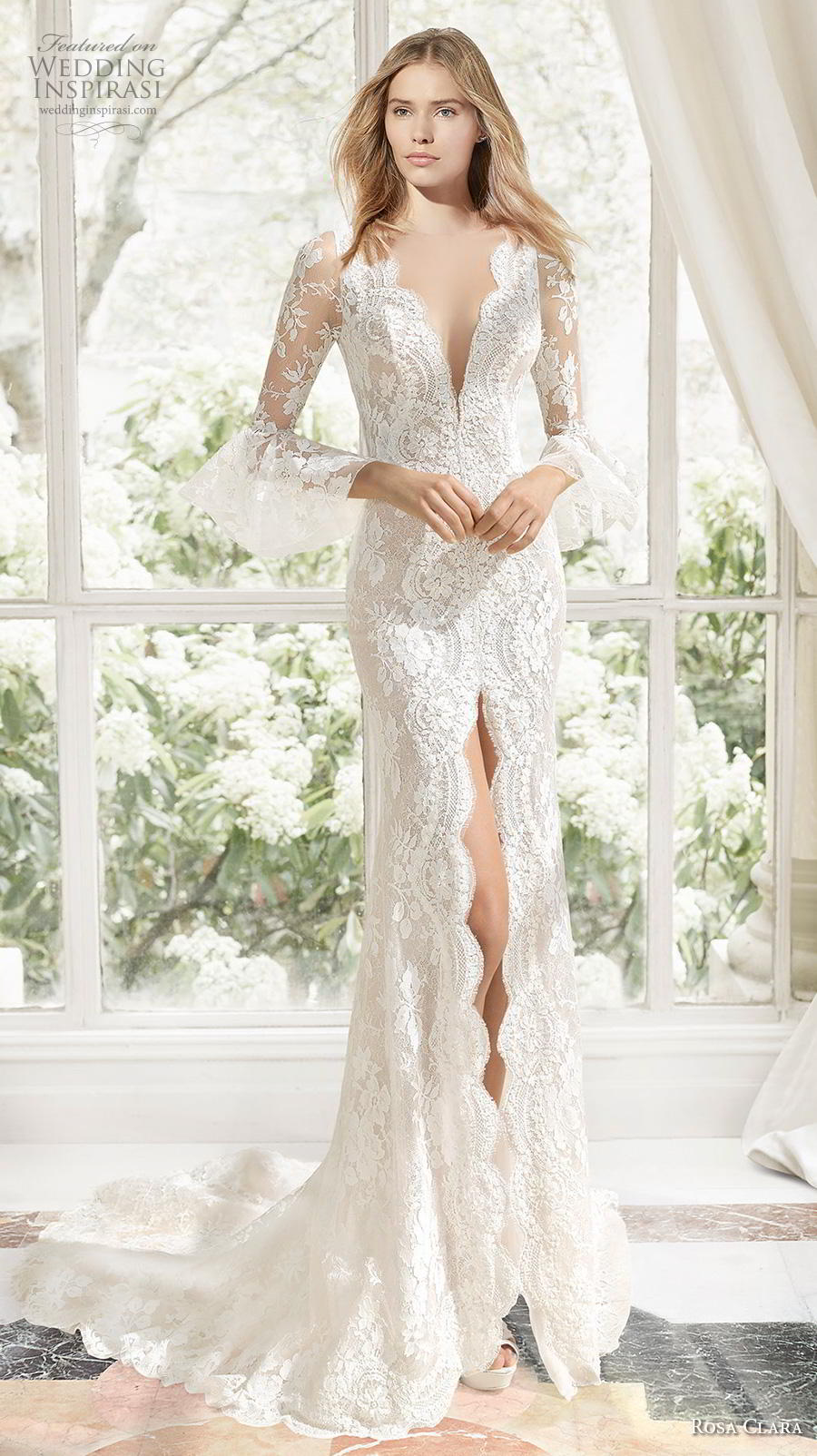 rosa clara 2019 couture bridal long sleeves deep v neck full embellishment slit skirt elegant sheath wedding dress sheer button back chapel train (13) mv