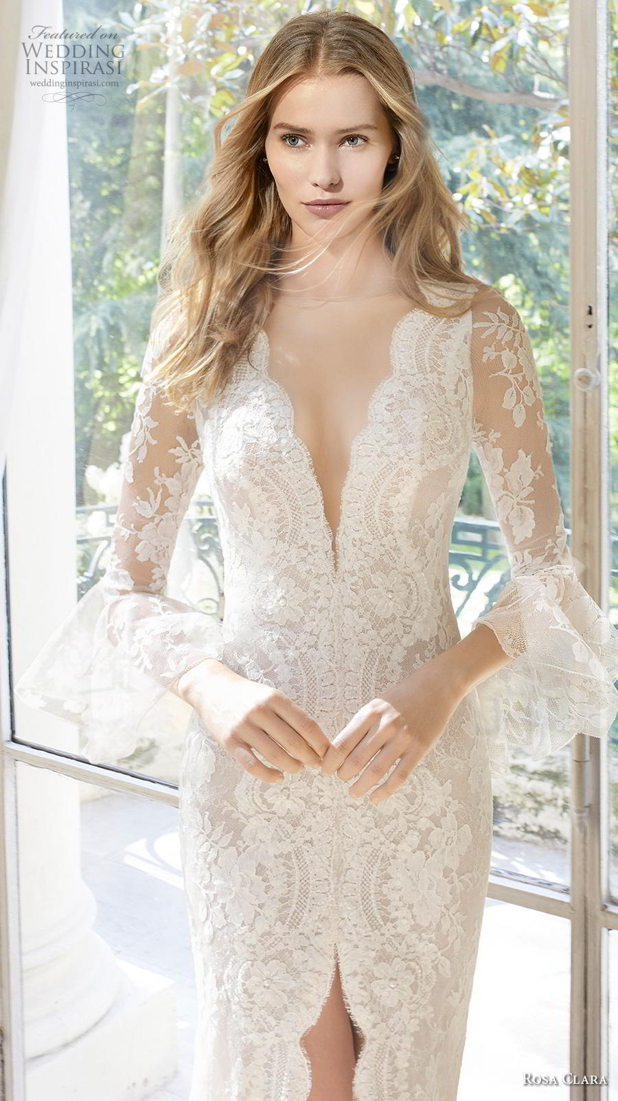 rosa clara 2019 couture bridal long sleeves deep v neck full embellishment slit skirt elegant sheath wedding dress sheer button back chapel train (13) zv