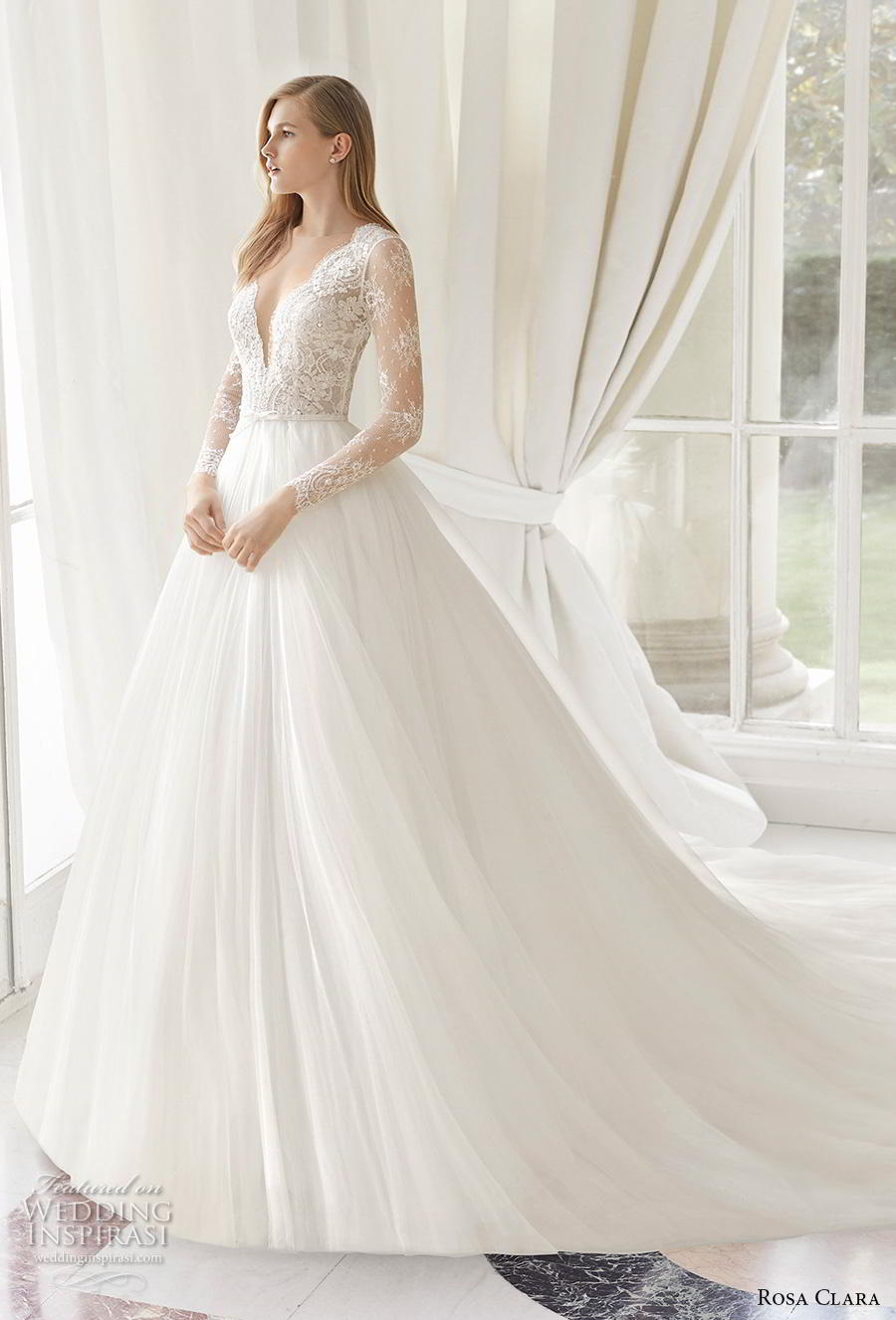 rosa clara 2019 couture bridal long sleeves deep v neck heavily embellished bodice romantic princess a  line wedding dress sheer button back chapel train (12) mv