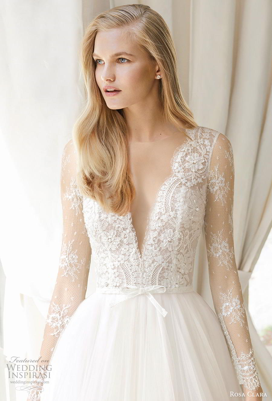 rosa clara 2019 couture bridal long sleeves deep v neck heavily embellished bodice romantic princess a  line wedding dress sheer button back chapel train (12) zv