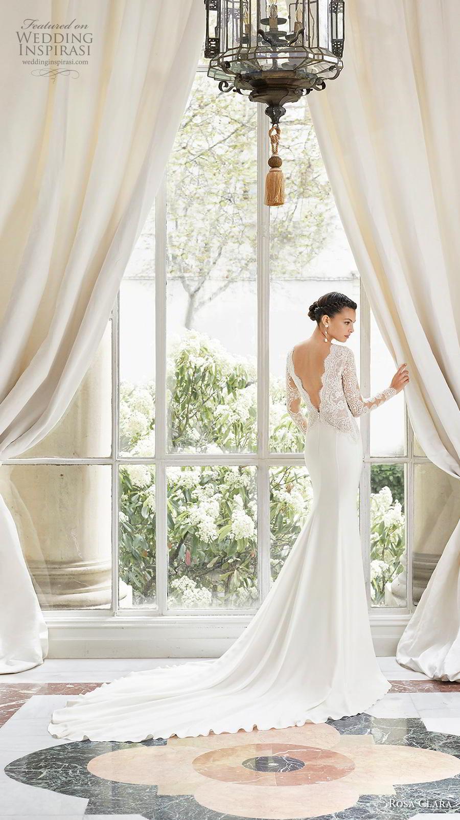 rosa clara 2019 couture bridal long sleeves deep v neck heavily embellished bodice slit skirt elegant sheath wedding dress backless v back chapel train (5) bv