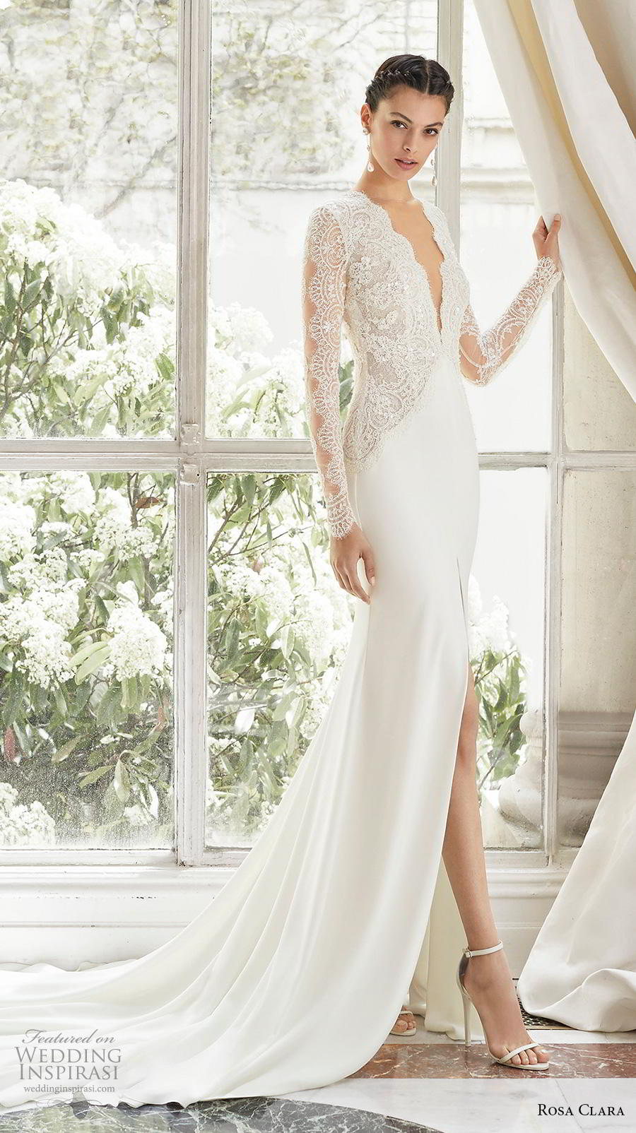 rosa clara 2019 couture bridal long sleeves deep v neck heavily embellished bodice slit skirt elegant sheath wedding dress backless v back chapel train (5) mv