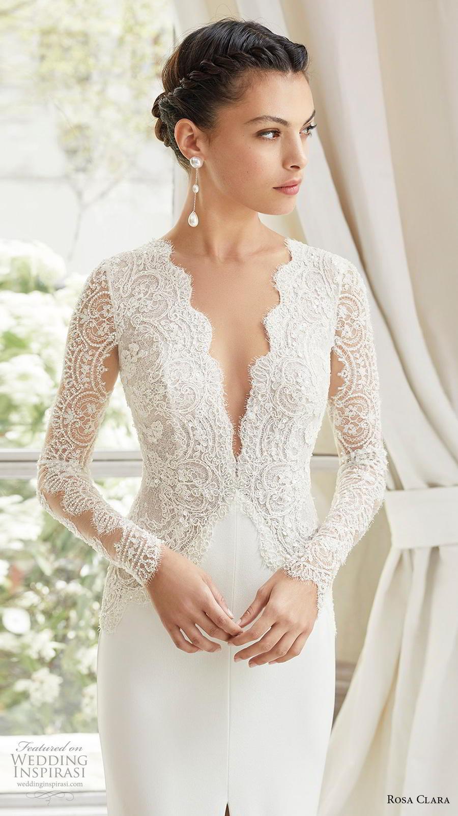 rosa clara 2019 couture bridal long sleeves deep v neck heavily embellished bodice slit skirt elegant sheath wedding dress backless v back chapel train (5) zv