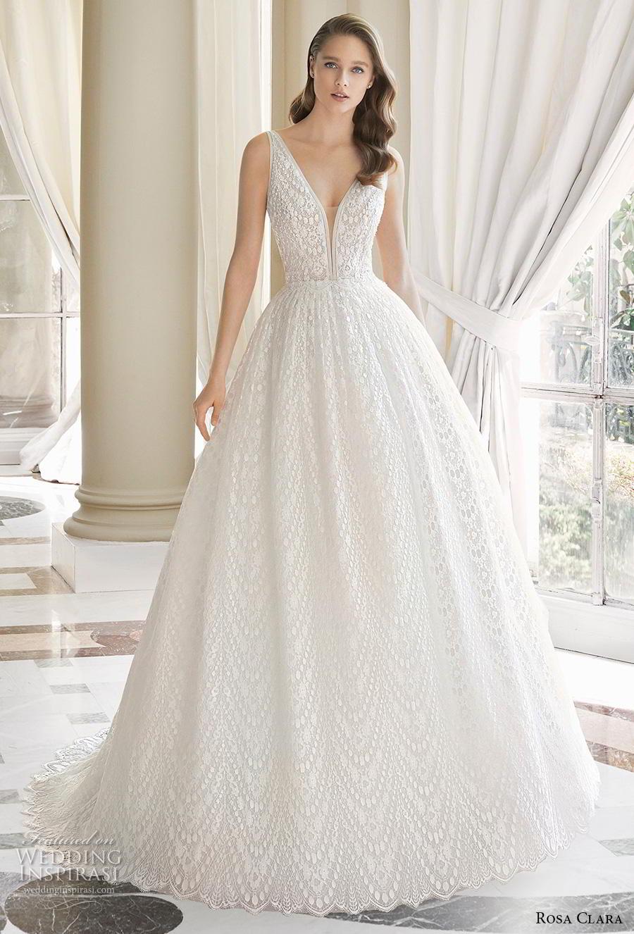 rosa clara 2019 couture bridal sleeveless deep v neck full embellishment romantic ball gown a  line wedding dress v back sweep train (9) mv