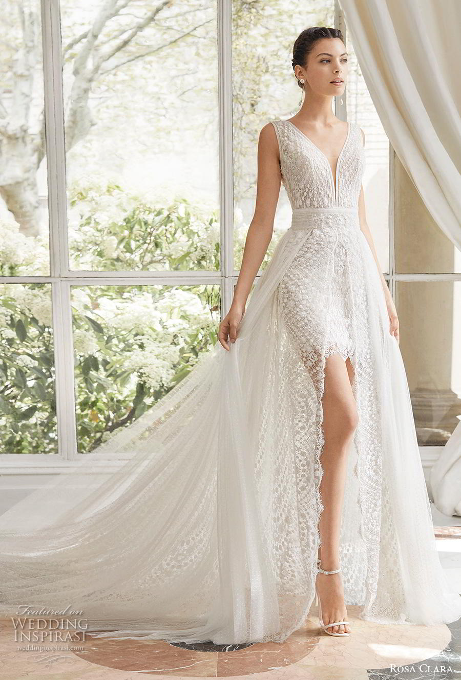 rosa clara 2019 couture bridal sleeveless deep v neck heavily embellished bodice romantic above the know mini short wedding dress a  line overskirt backless medium train (6) mv