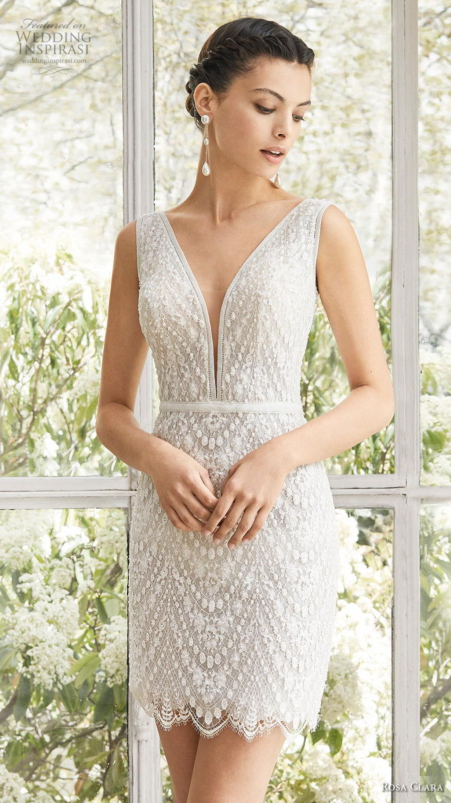 rosa clara 2019 couture bridal sleeveless deep v neck heavily embellished bodice romantic above the know mini short wedding dress backless medium train (6) zv