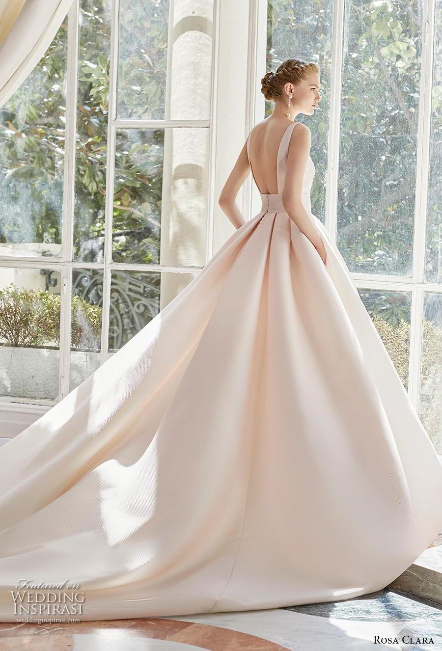 rosa clara 2019 couture bridal sleeveless deep v neck simple minimalist elegant princess blush a  line wedding dress pockets backless royal train (1) bv