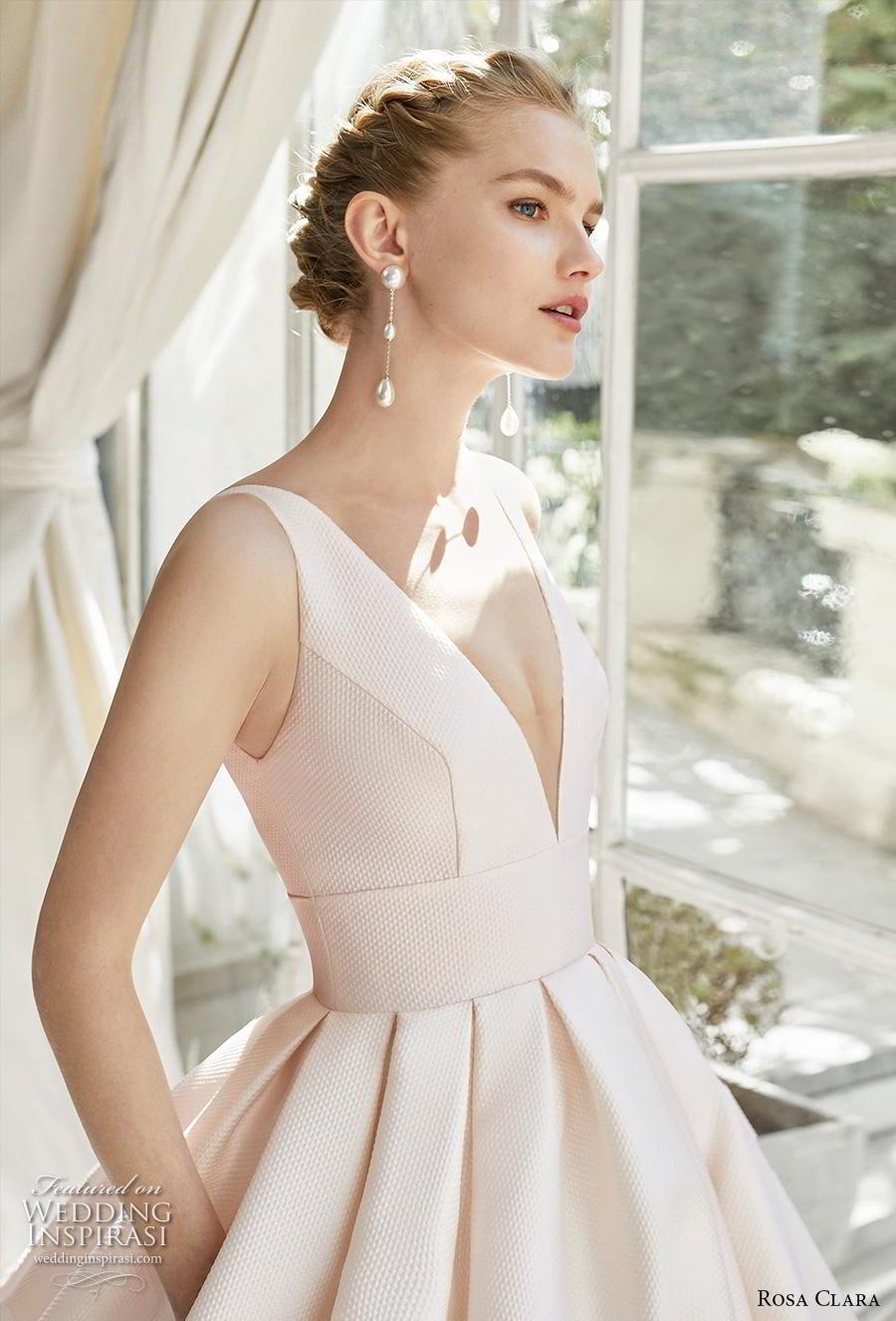 rosa clara 2019 couture bridal sleeveless deep v neck simple minimalist elegant princess blush a  line wedding dress pockets backless royal train (1) zv