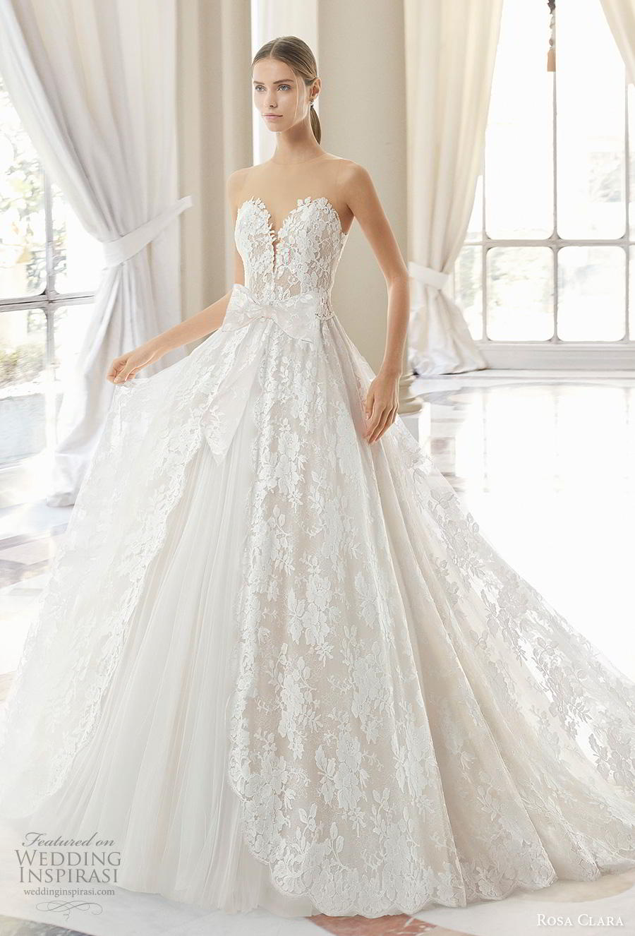 rosa clara 2019 couture bridal sleeveless illusion jewel sweetheart neckline full embellishment princess romantic a  line wedding dress sheer lace back sweep train (15) mv