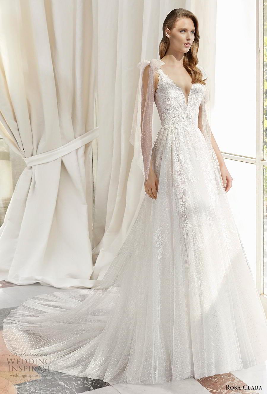 rosa clara 2019 couture bridal sleeveless ribbon strap v neck heavily embellished bodice romantic a  line wedding dress backless v back chapel train (16) mv