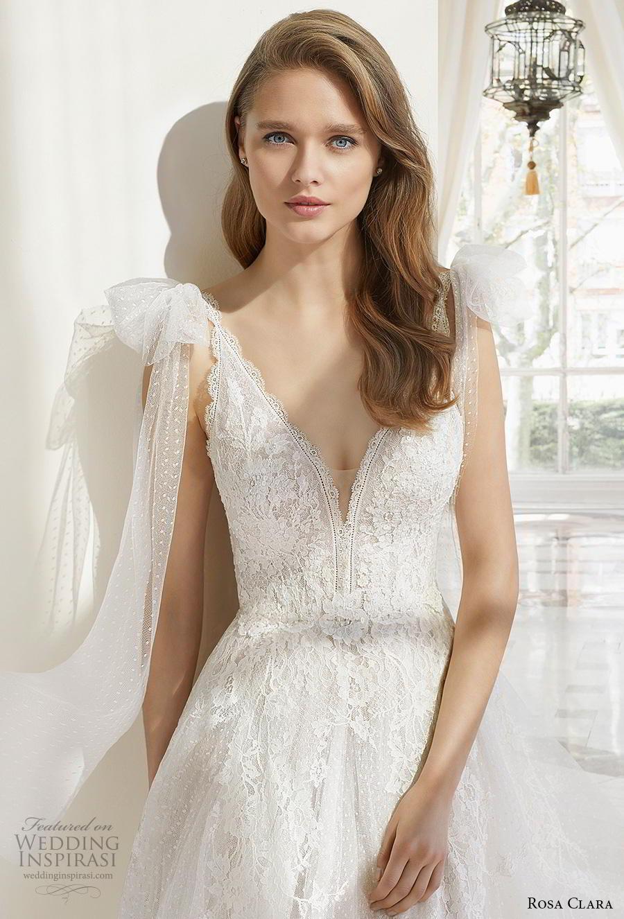 rosa clara 2019 couture bridal sleeveless ribbon strap v neck heavily embellished bodice romantic a  line wedding dress backless v back chapel train (16) zv