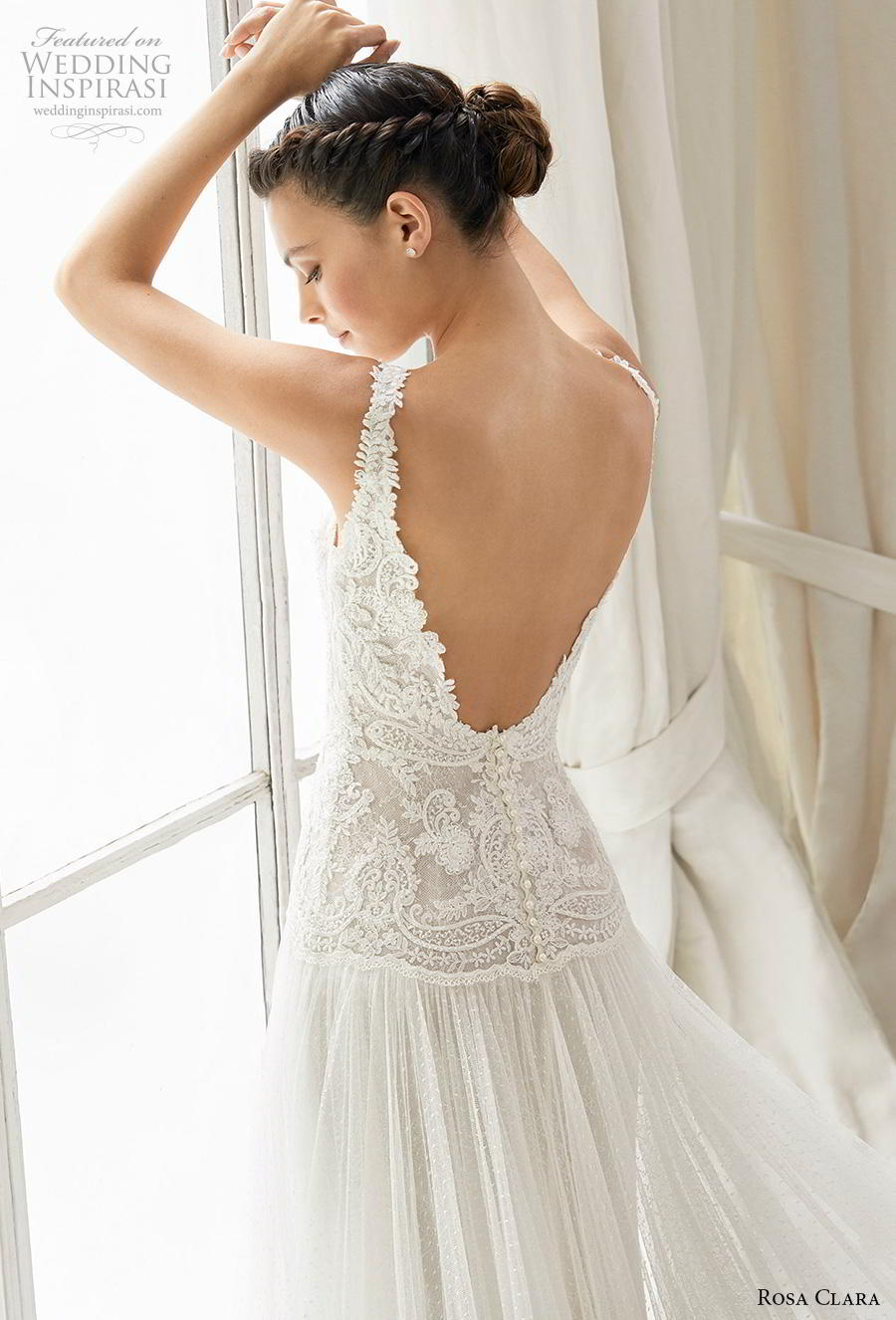 rosa clara 2019 couture bridal sleeveless thick strap deep v neck heavily embellished bodice romantic drop waist a  line wedding dress backless v back chapel train (17) zbv