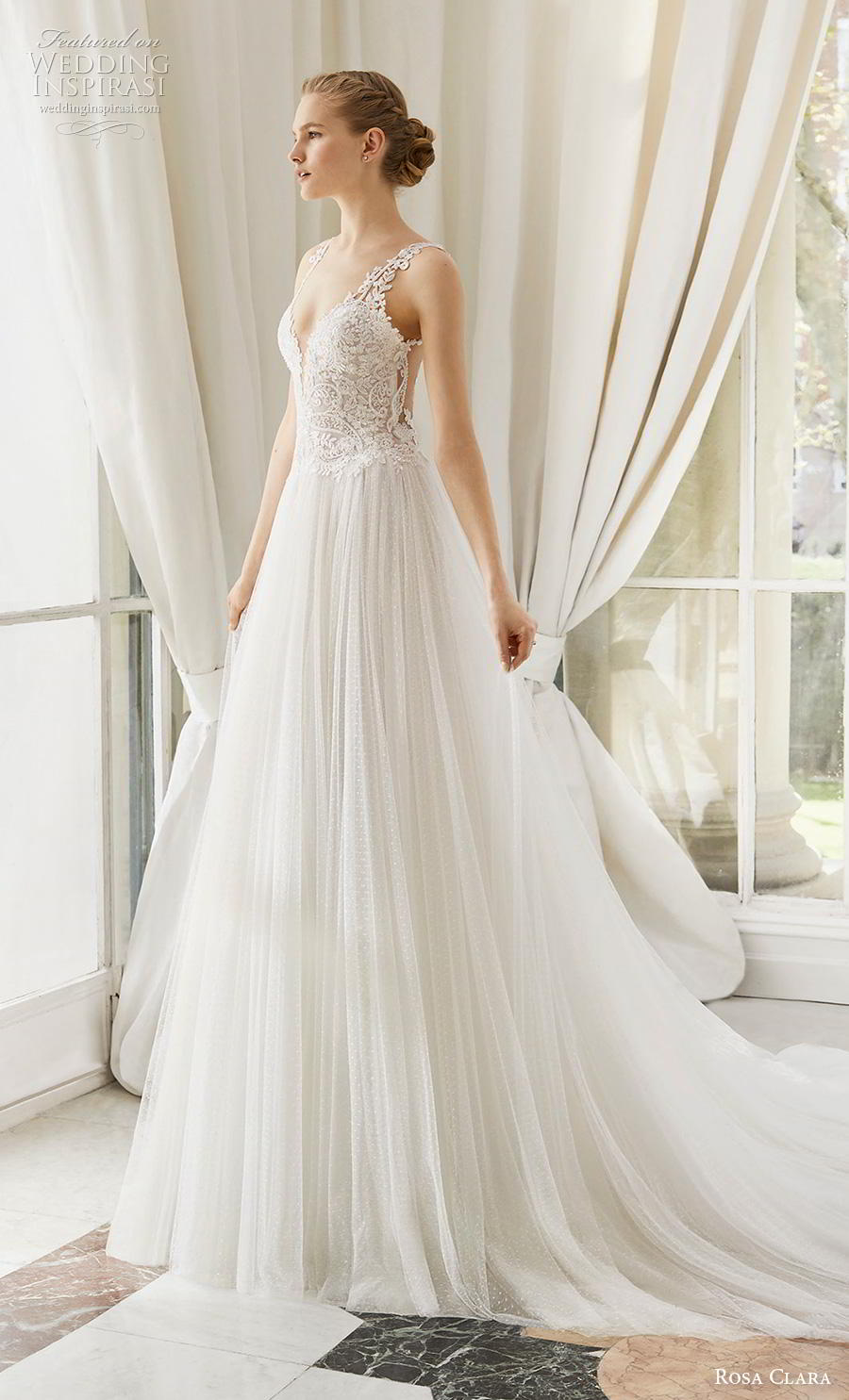 rosa clara 2019 couture bridal sleeveless with strap deep sweetheart neckline heavily embellished bodice pleated skirt romantic soft a  line wedding dress sheer lace back chapel train (10) mv