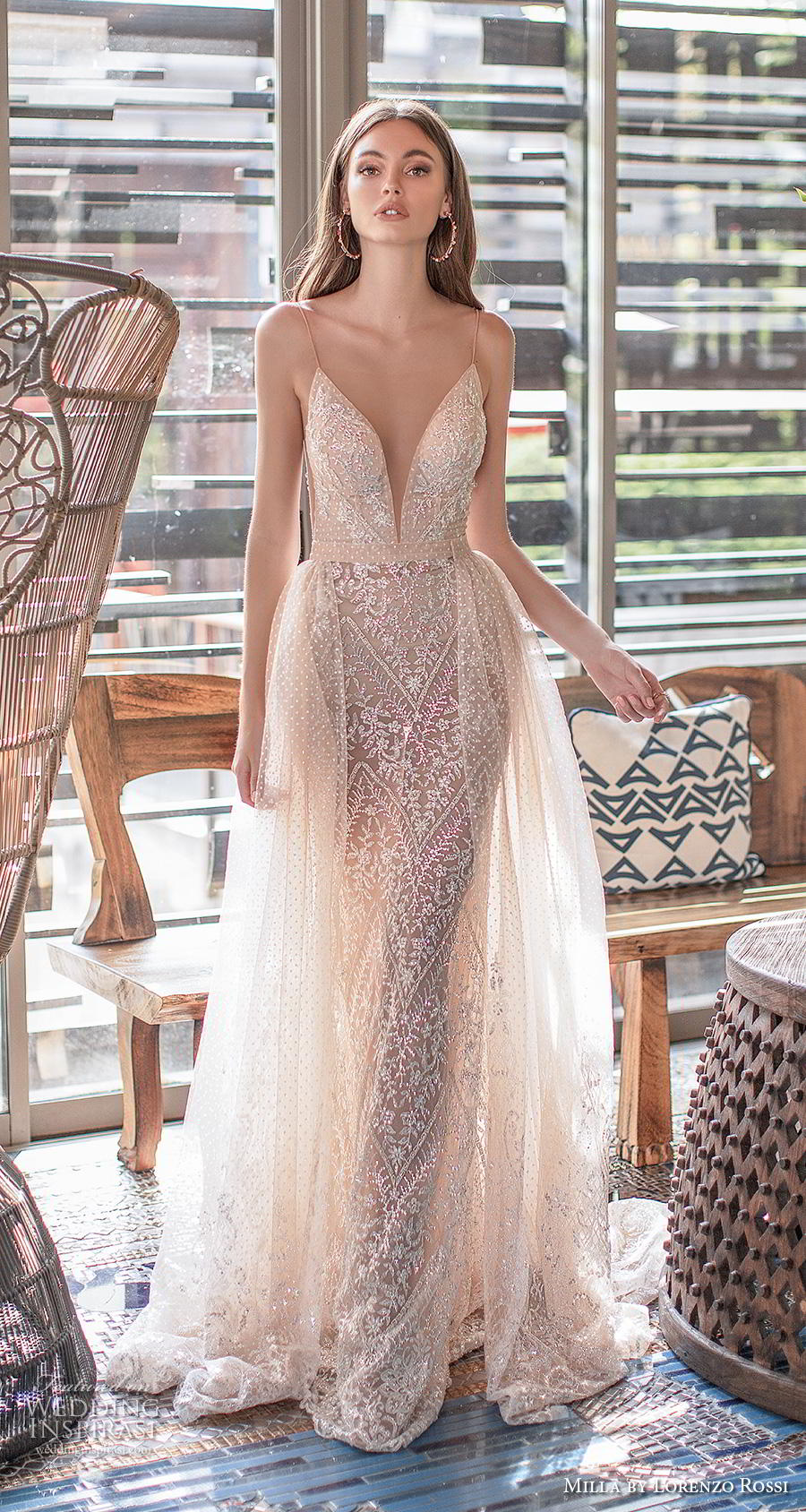 sleeveless spaghetti strap deep plunging sweetheart neckline full embellishment elegant sexy ivory fit and flare wedding dress a  line overskirt low back medium train (4) mv