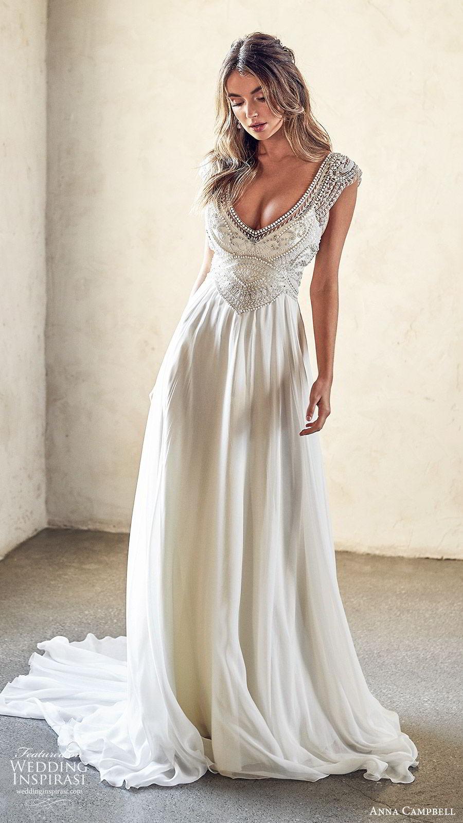 anna campbell 2020 bridal cap sleeves  deep v neckline heavily embellished bodice clean skirt a line wedding dress (12) elegant glam square back chapel train mv