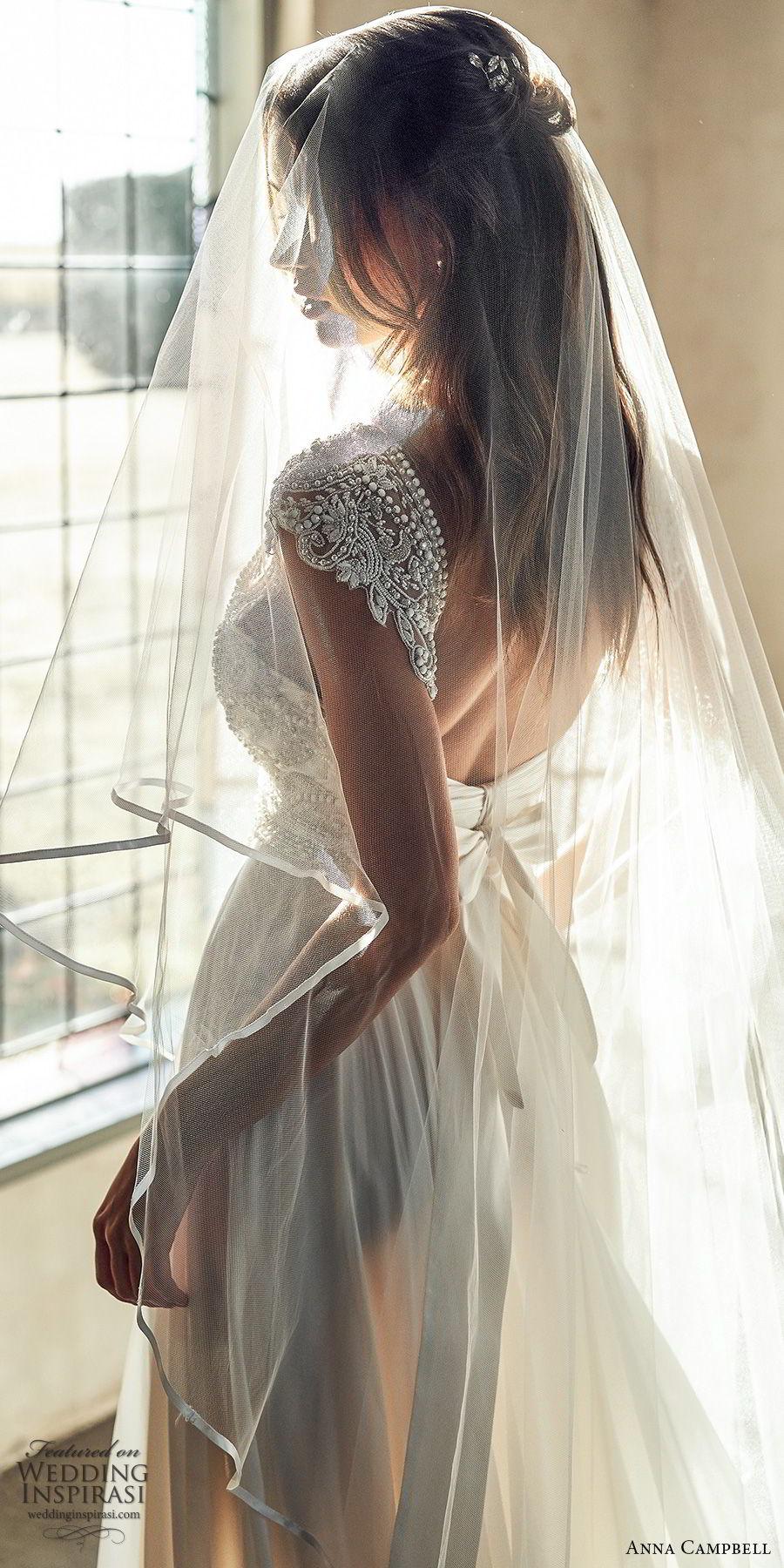 anna campbell 2020 bridal cap sleeves  deep v neckline heavily embellished bodice clean skirt a line wedding dress (12) elegant glam square back chapel train zbv
