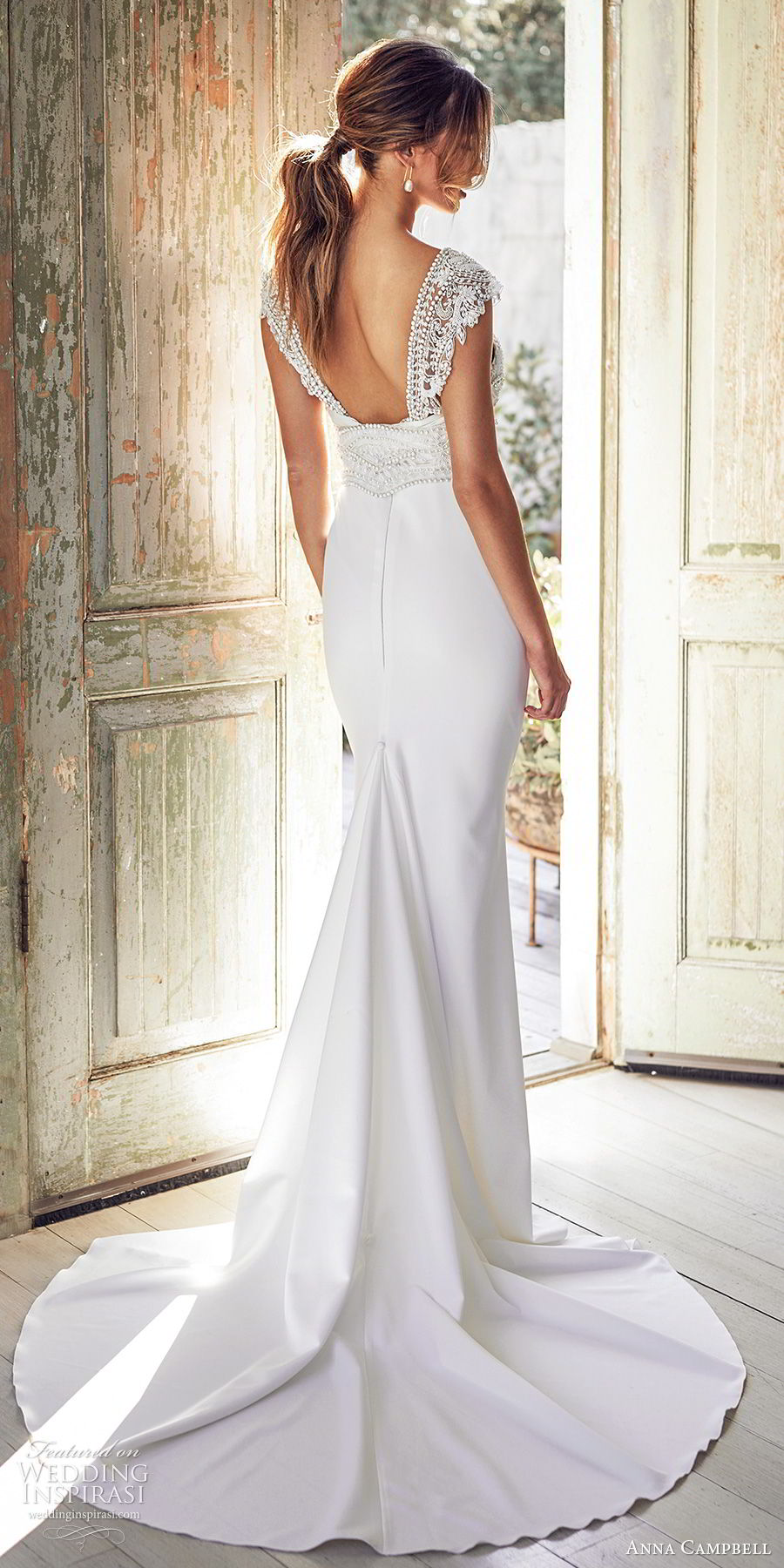 anna campbell 2020 bridal cap sleeves  deep v neckline heavily embellished bodice clean skirt sheath wedding dress (12) elegant glam square back chapel train bv
