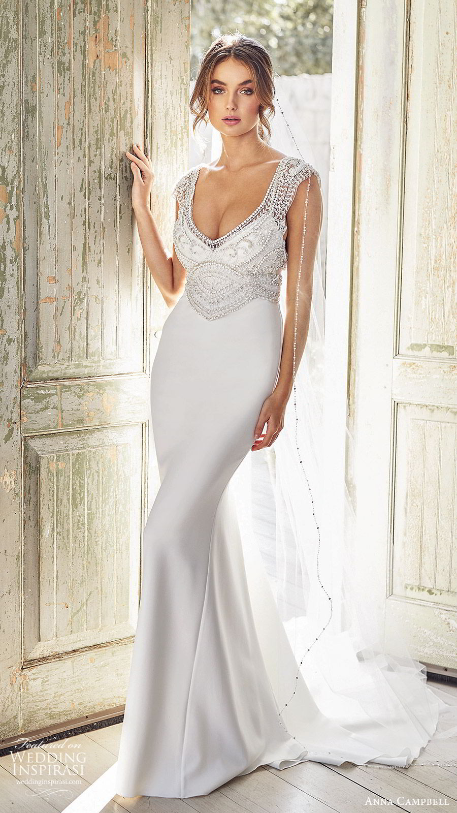 anna campbell 2020 bridal cap sleeves  deep v neckline heavily embellished bodice clean skirt sheath wedding dress (12) elegant glam square back chapel train mv