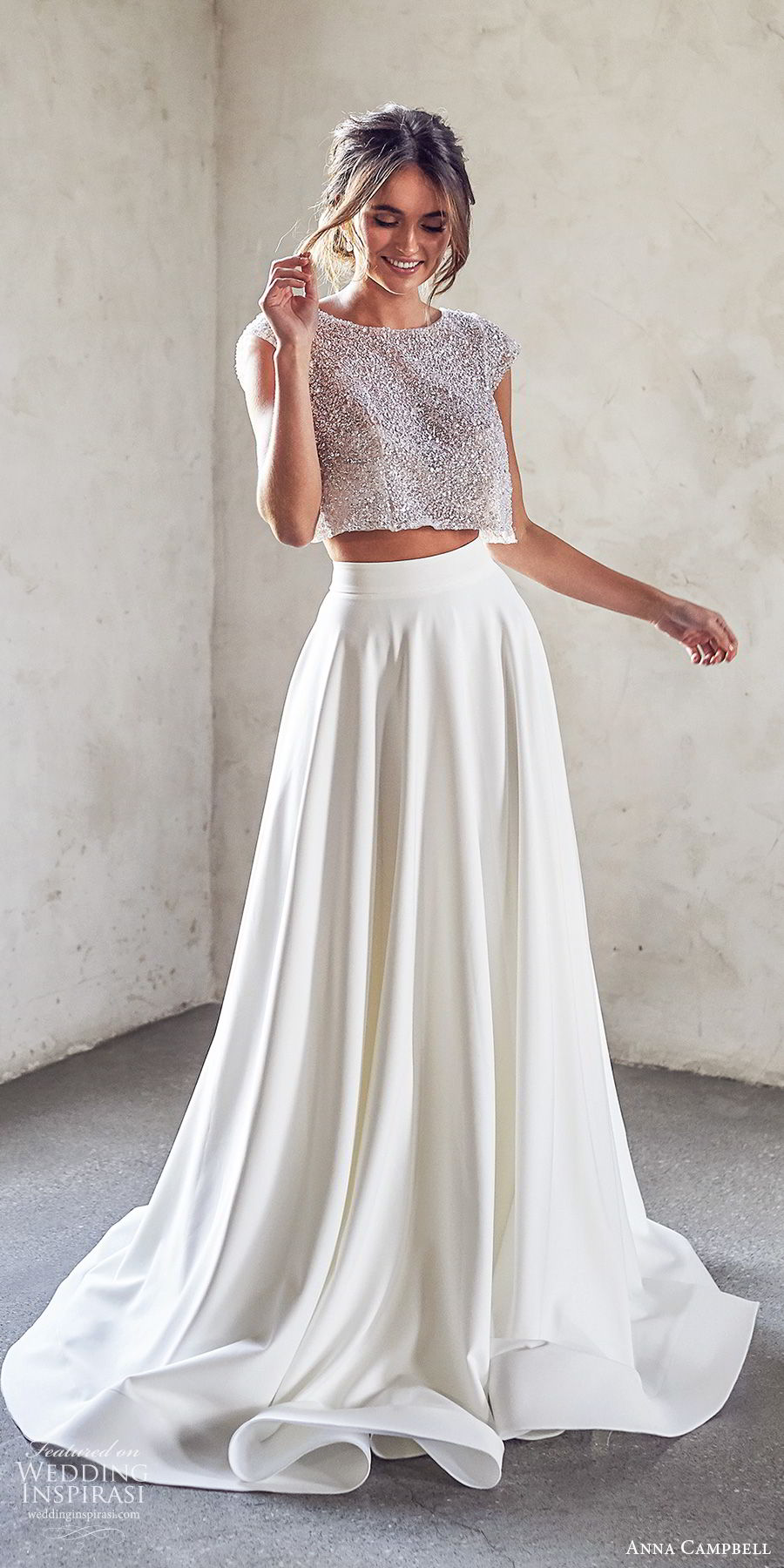 anna campbell 2020 bridal cap sleeves jewel neck embellished bodice crop top a line skirt wedding dress (10) modern chapel train mv