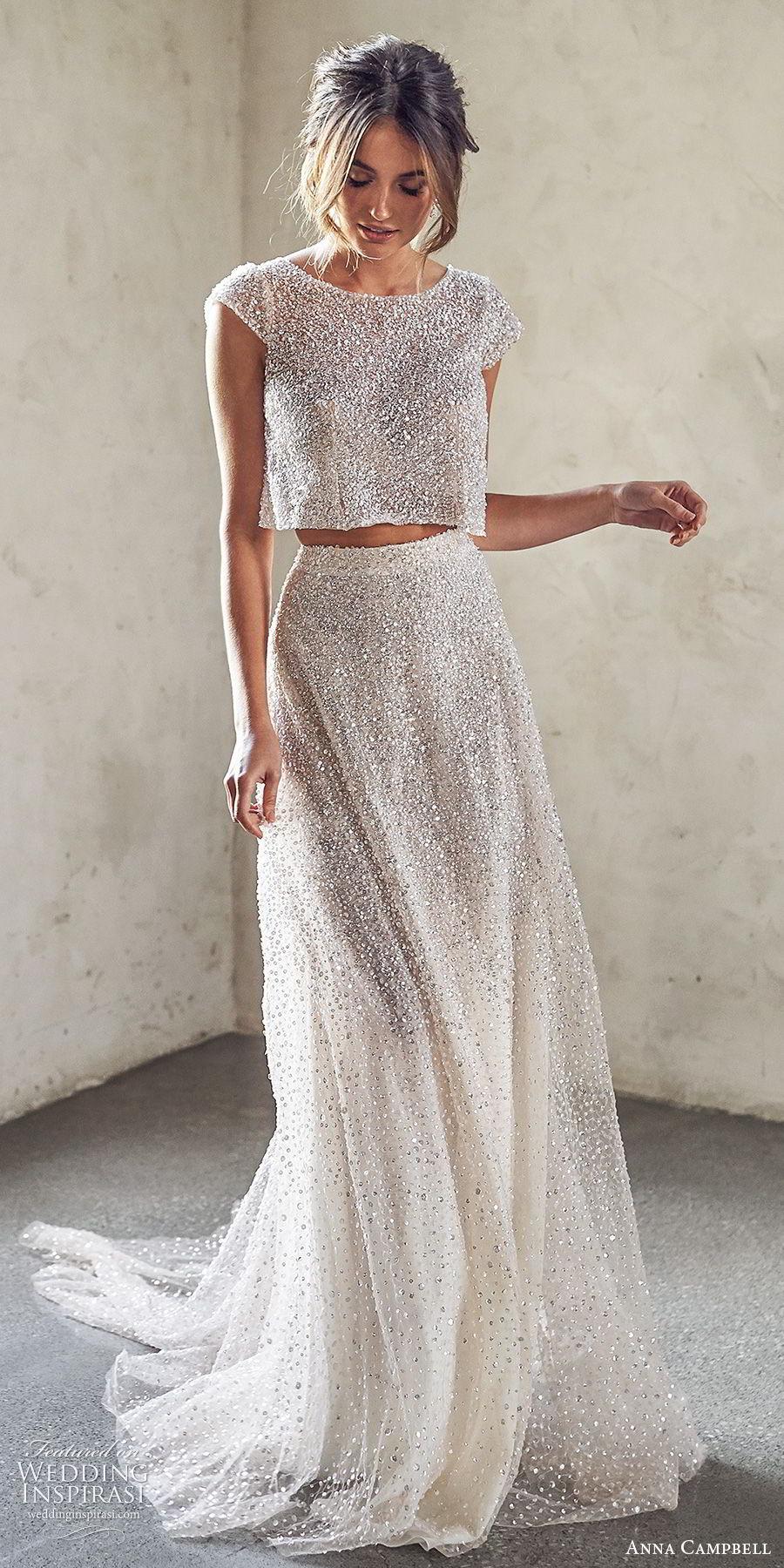 anna campbell 2020 bridal cap sleeves jewel neck fully embellished crop top a line skirt wedding dress (10) modern chapel train mv