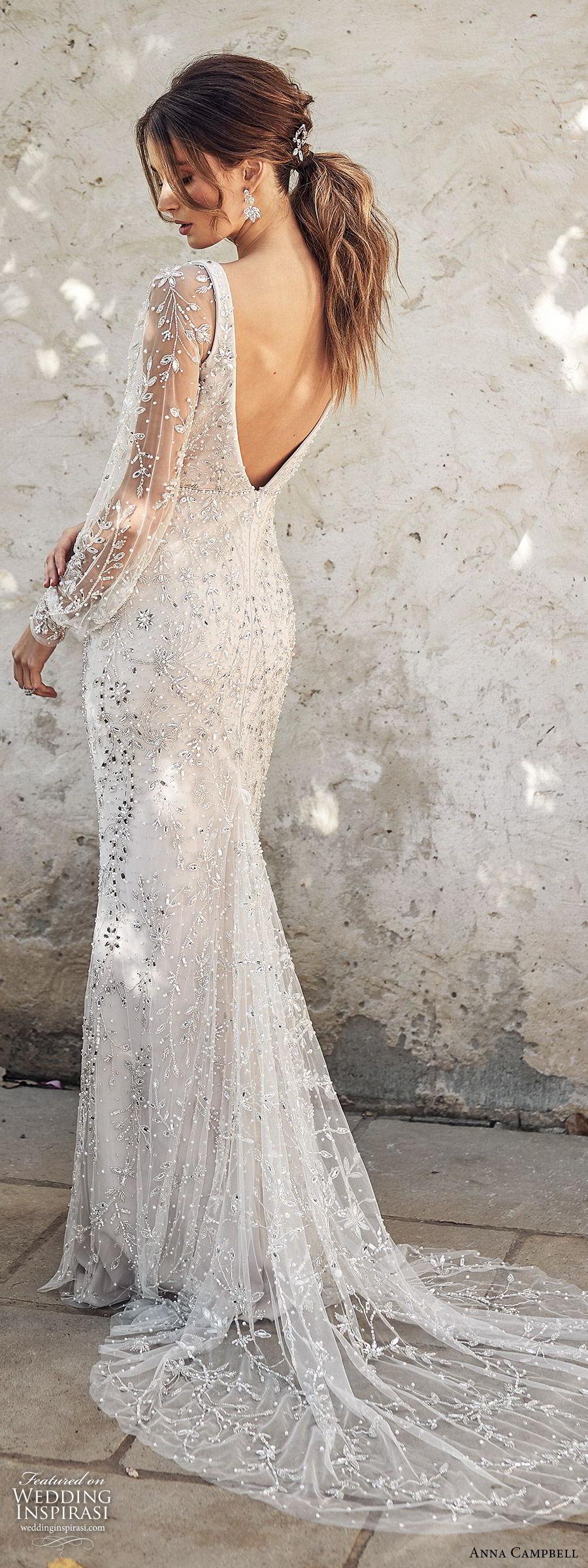 anna campbell 2020 bridal illusion bishop sleeves v neckline fully embellished trumpet mermaid sheath wedding dress (1) glam elegant glitzy scoop back chapel train bv