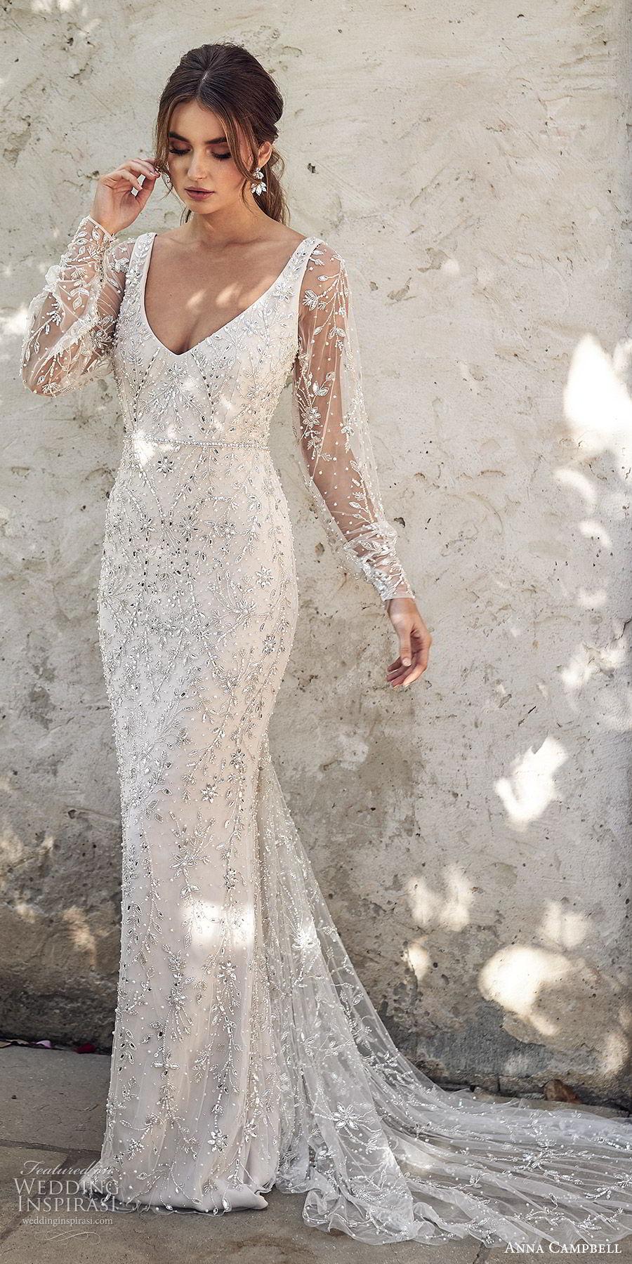 anna campbell 2020 bridal illusion bishop sleeves v neckline fully embellished trumpet mermaid sheath wedding dress (1) glam elegant glitzy scoop back chapel train mv