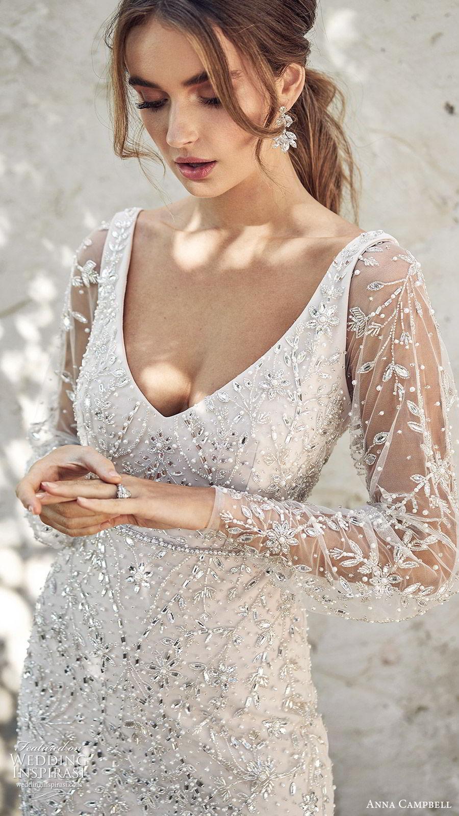 anna campbell 2020 bridal illusion bishop sleeves v neckline fully embellished trumpet mermaid sheath wedding dress (1) glam elegant glitzy scoop back chapel train zv