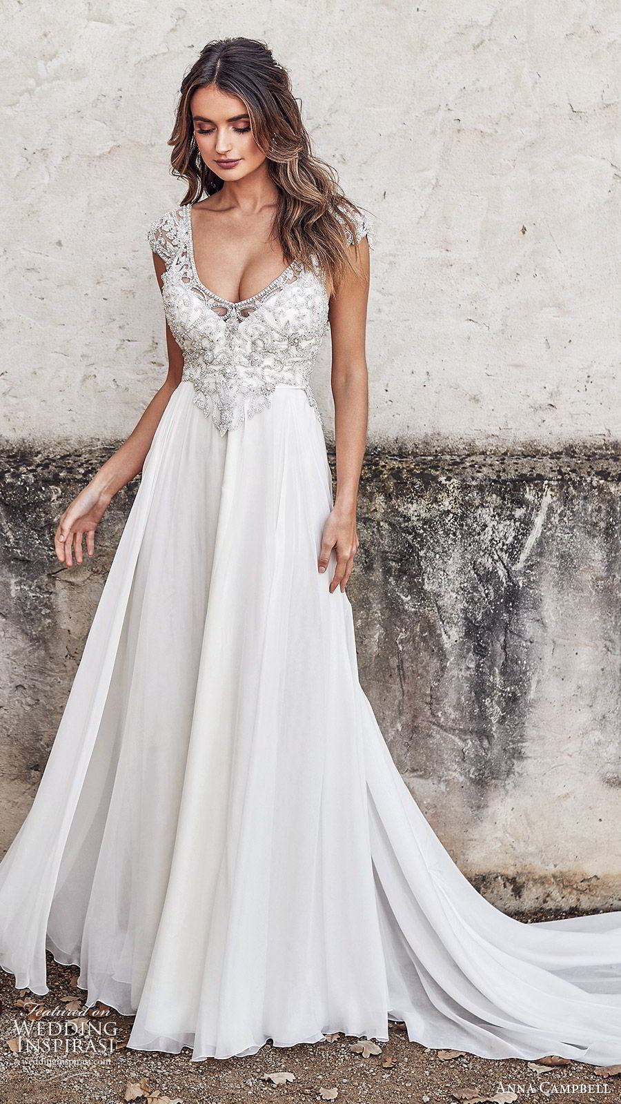 anna campbell 2020 bridal illusion cap sleeves scoop neck heavily embellished bodice a line ball gown wedding dress (3) glitzy glam v back chapel train mv