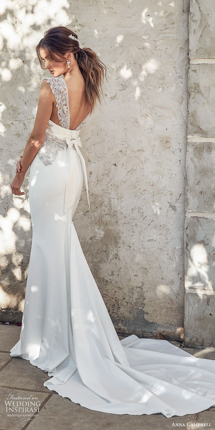 anna campbell 2020 bridal illusion cap sleeves scoop neck heavily embellished bodice trumpet mermaid sheath wedding dress (3) glitzy glam v back chapel train bv