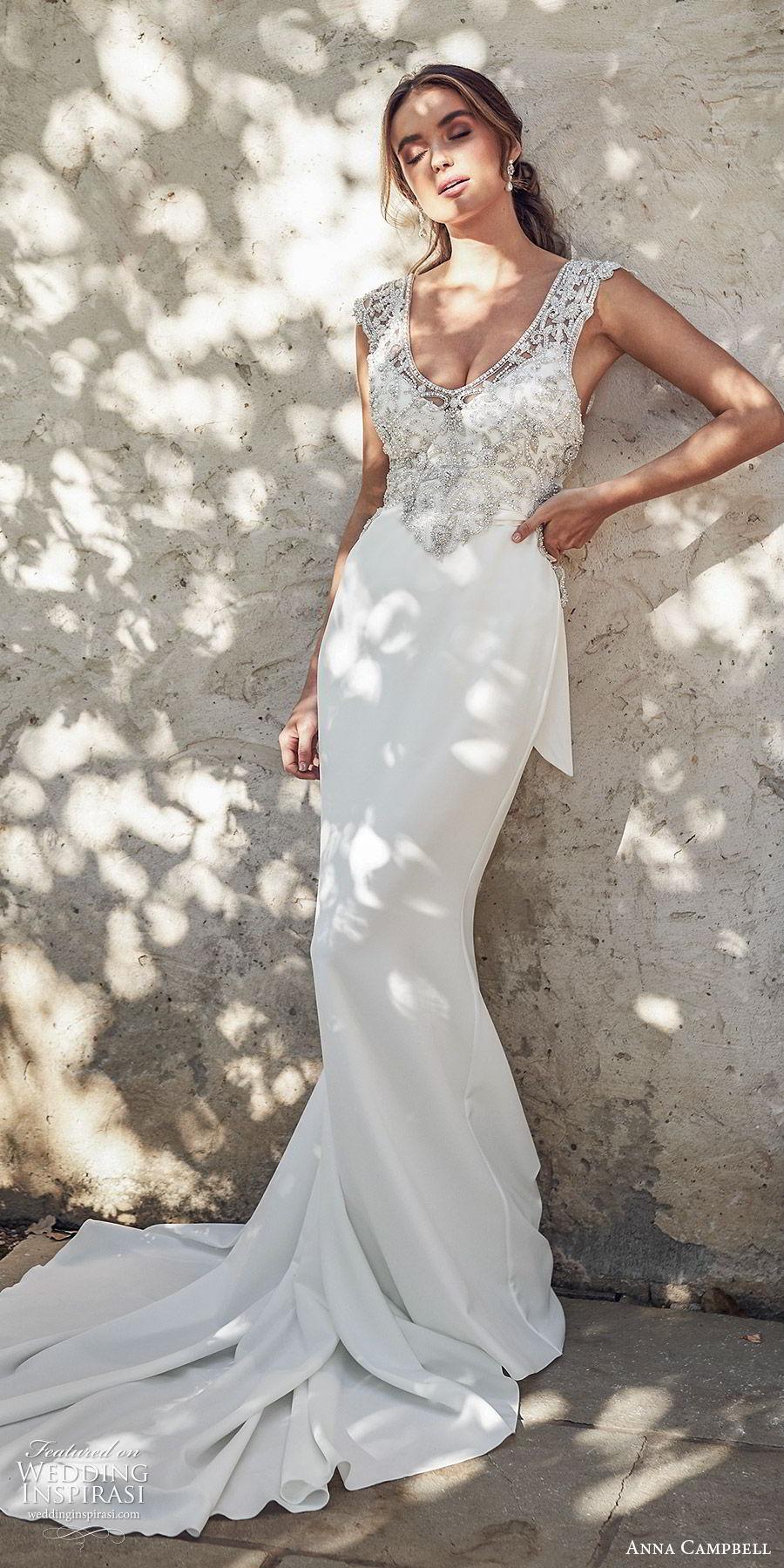 anna campbell 2020 bridal illusion cap sleeves scoop neck heavily embellished bodice trumpet mermaid sheath wedding dress (3) glitzy glam v back chapel train mv