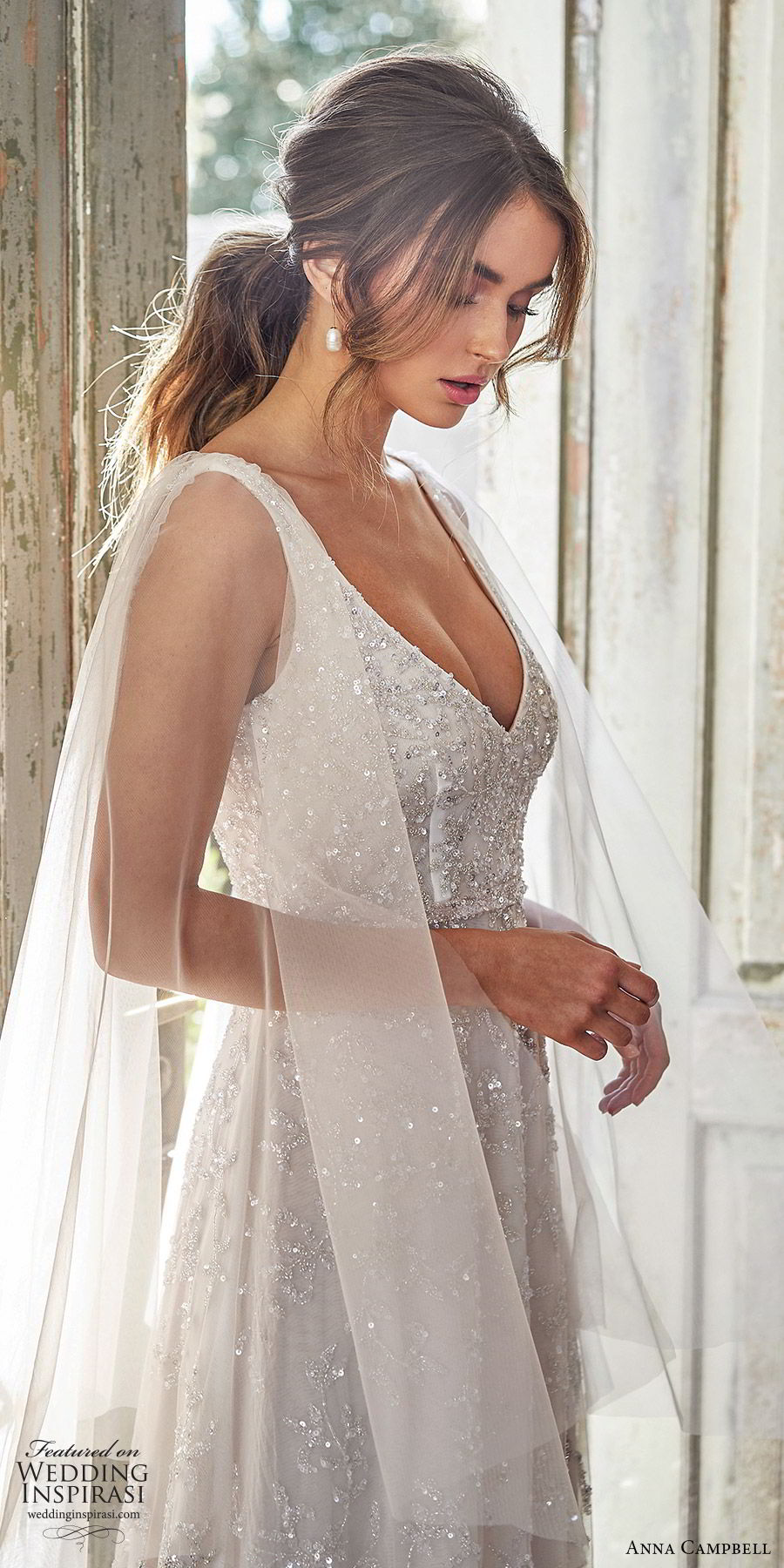 anna campbell 2020 bridal illusion flare sleeves thick straps fully embellished ball gown a line wedding dress (4) romantic glitzy blush color chapel train zsv