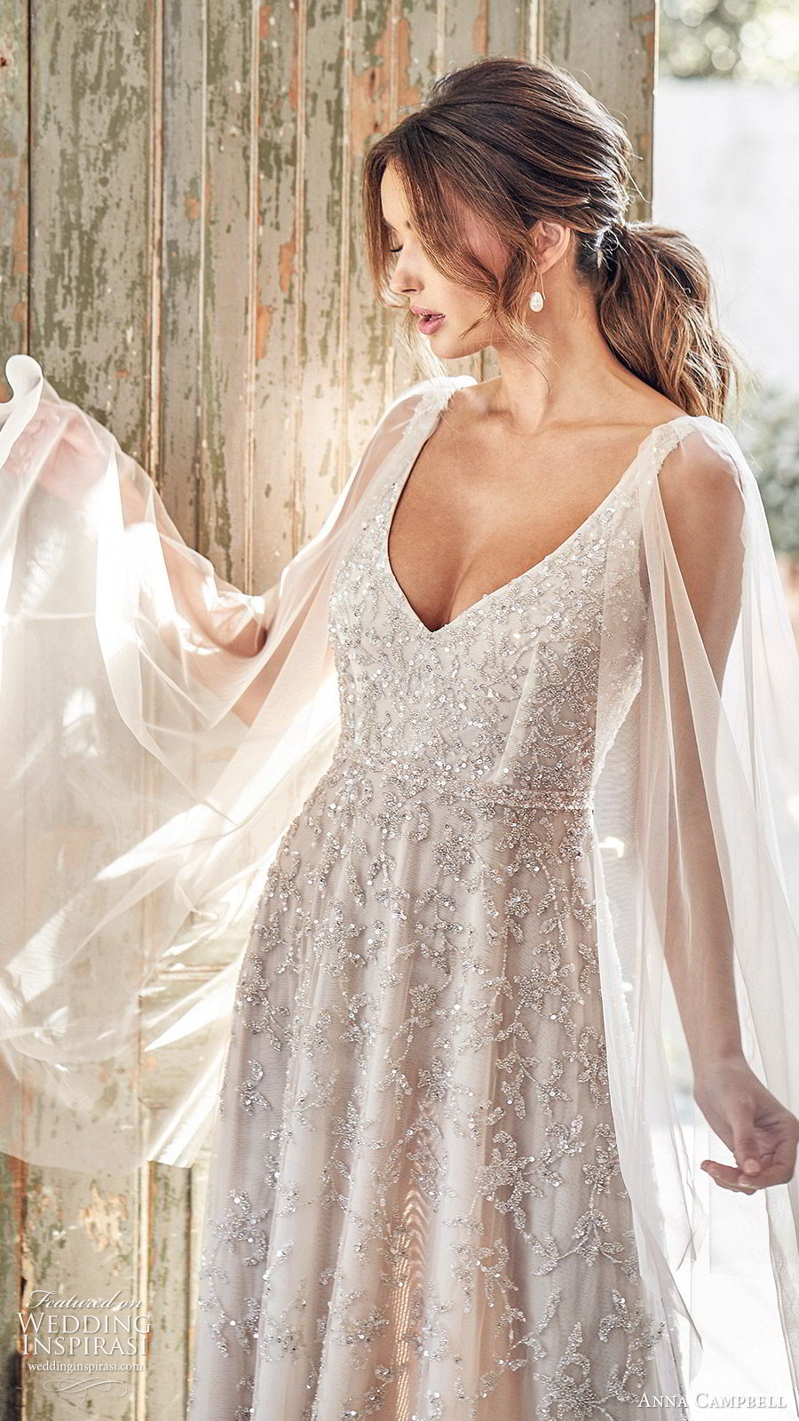 anna campbell 2020 bridal illusion flare sleeves thick straps fully embellished ball gown a line wedding dress (4) romantic glitzy blush color chapel train zv