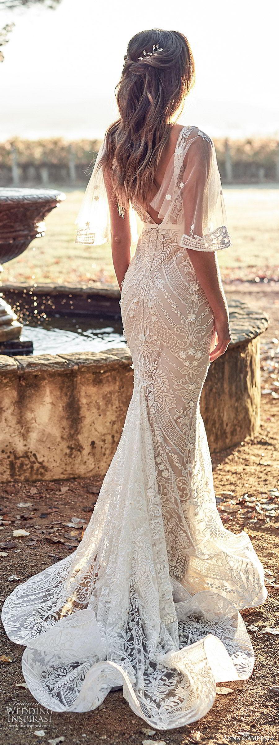 anna campbell 2020 bridal illusion flutter sleees sleeveless thick straps deep v neckline fully embellished embroidered lace sheath wedding dress (9) elegant v back chapel train bv