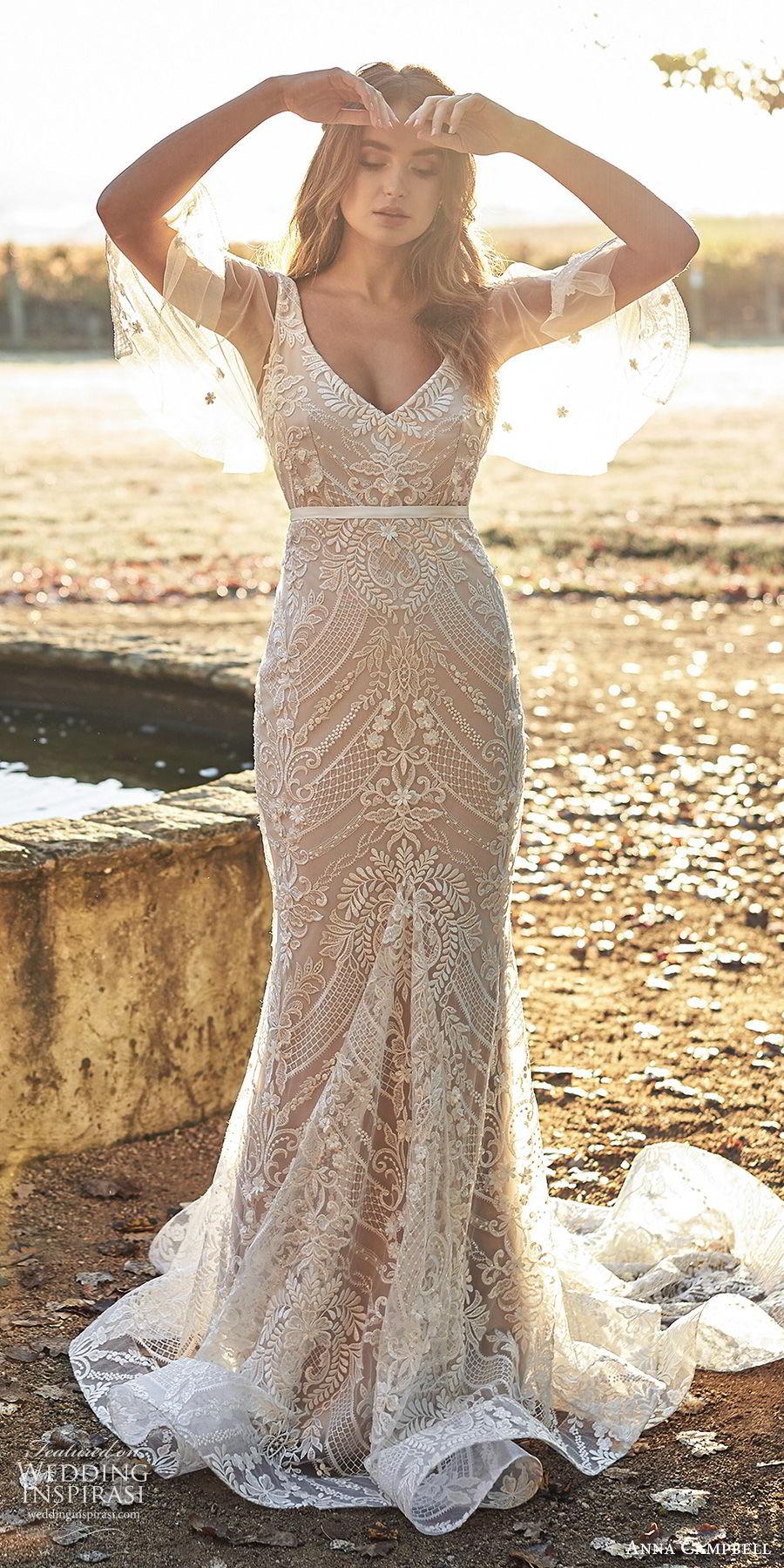 anna campbell 2020 bridal illusion flutter sleees sleeveless thick straps deep v neckline fully embellished embroidered lace sheath wedding dress (9) elegant v back chapel train mv