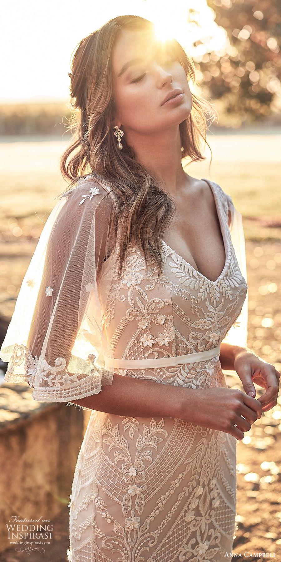 anna campbell 2020 bridal illusion flutter sleees sleeveless thick straps deep v neckline fully embellished embroidered lace sheath wedding dress (9) elegant v back chapel train zv