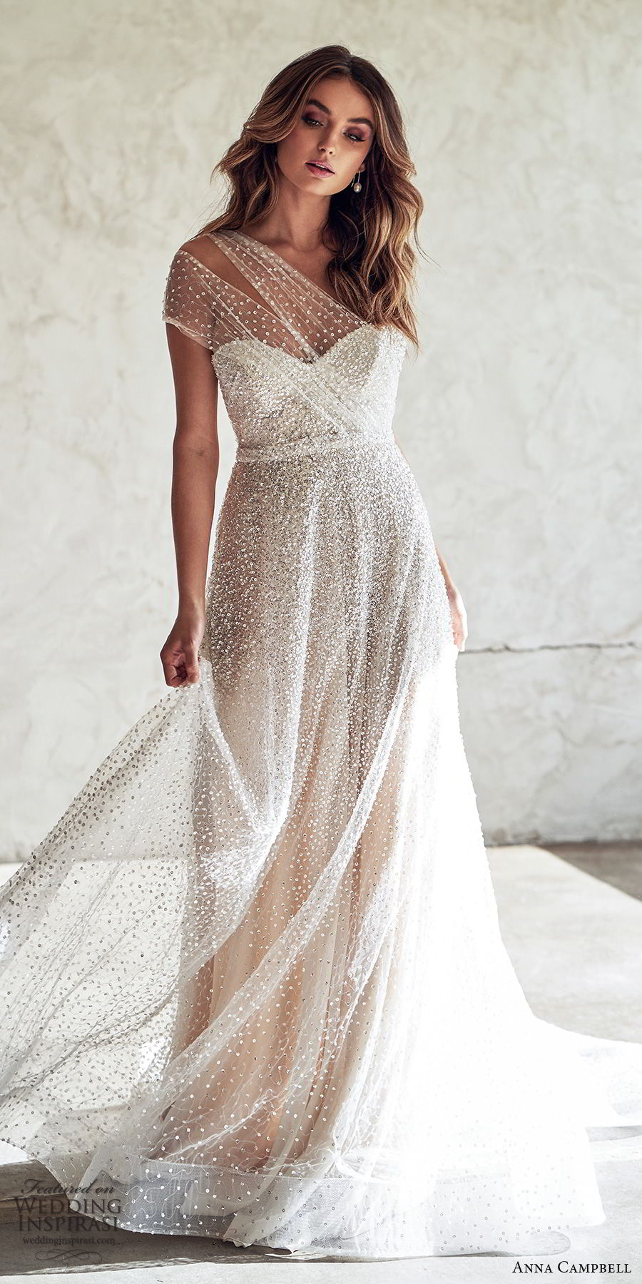 anna campbell 2020 bridal illusion one shoulder ruched bodice sweetheart fully embellished a line wedding dress (13) glitzy glam romantic chapel train mv