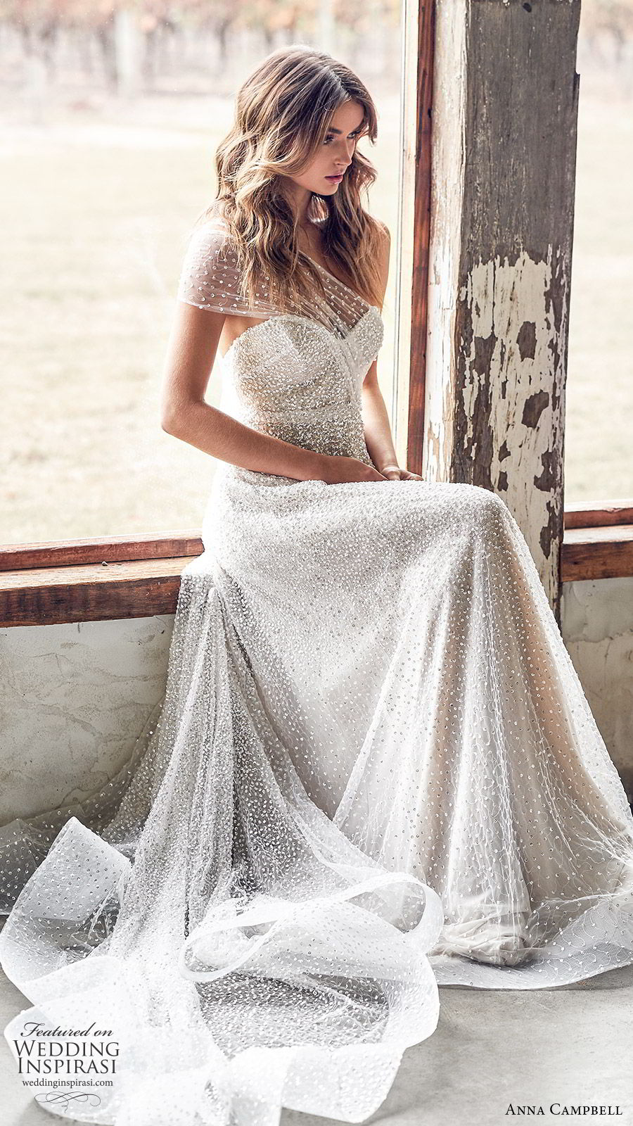 anna campbell 2020 bridal illusion one shoulder ruched bodice sweetheart fully embellished a line wedding dress (13) glitzy glam romantic chapel train sv