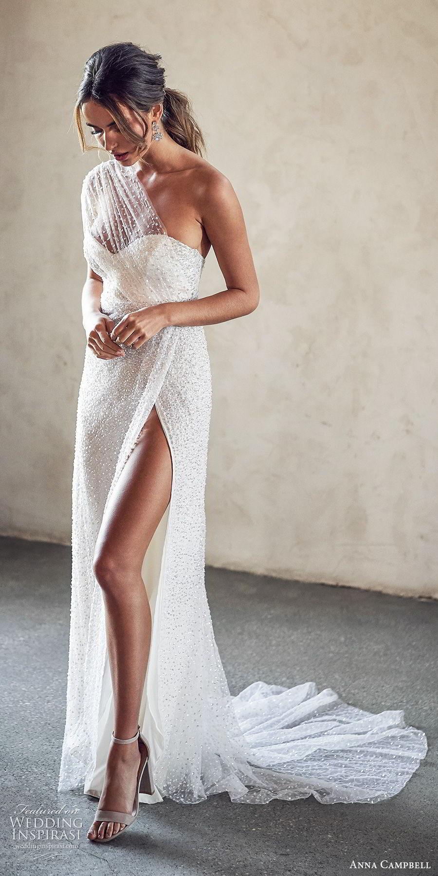 anna campbell 2020 bridal illusion one shoulder ruched bodice sweetheart fully embellished sheath wedding dress (13) slit skirt glitzy glam sexy chapel train mv