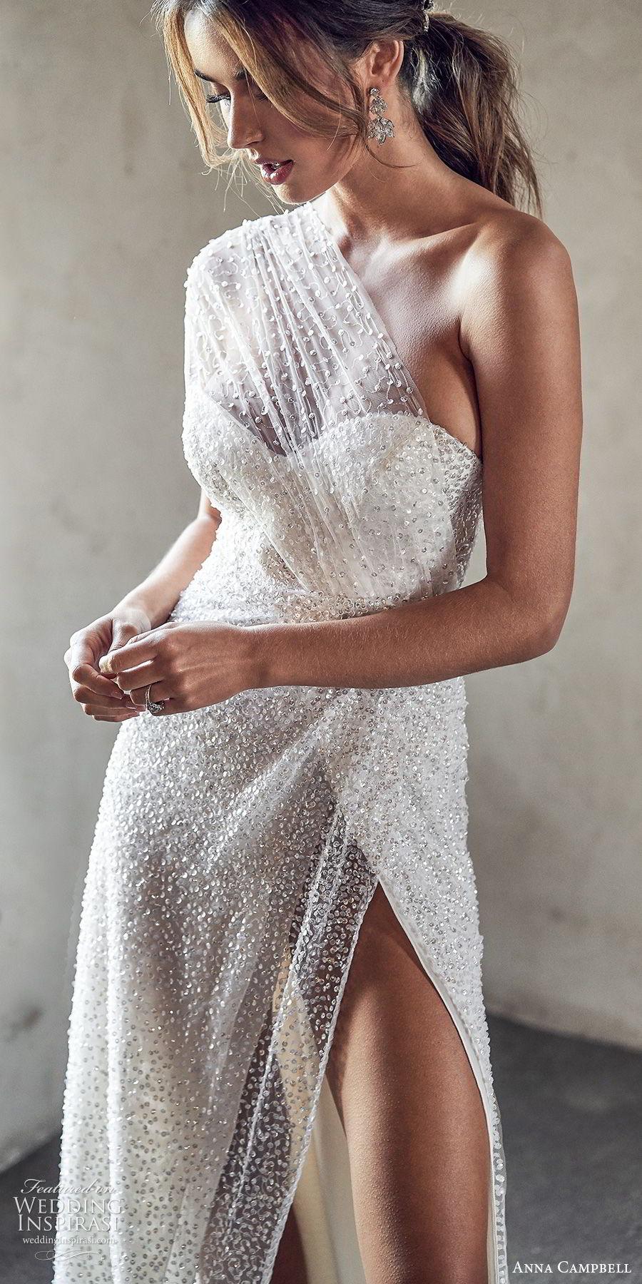 anna campbell 2020 bridal illusion one shoulder ruched bodice sweetheart fully embellished sheath wedding dress (13) slit skirt glitzy glam sexy chapel train zv