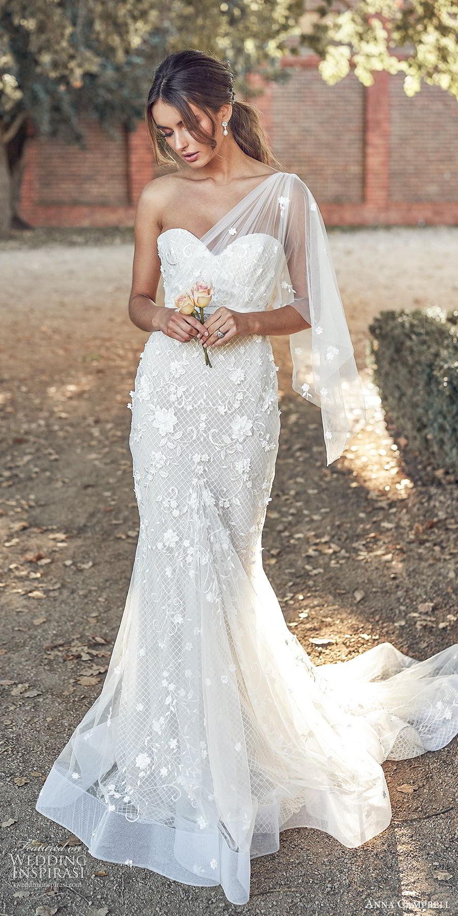 anna campbell 2020 bridal illusion one shoulder sweetheart neckline fully embellished embroidered lace sheath wedding dress (11) elegant romantic chapel train mv