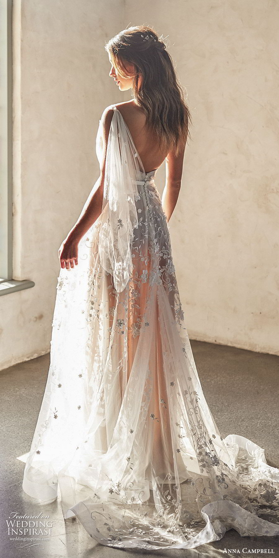 anna campbell 2020 bridal illusion one shoulder sweetheart ruched bodice fully embellished lace a line ball gown wedding dress (2) romantic boho blush color chapel train bv