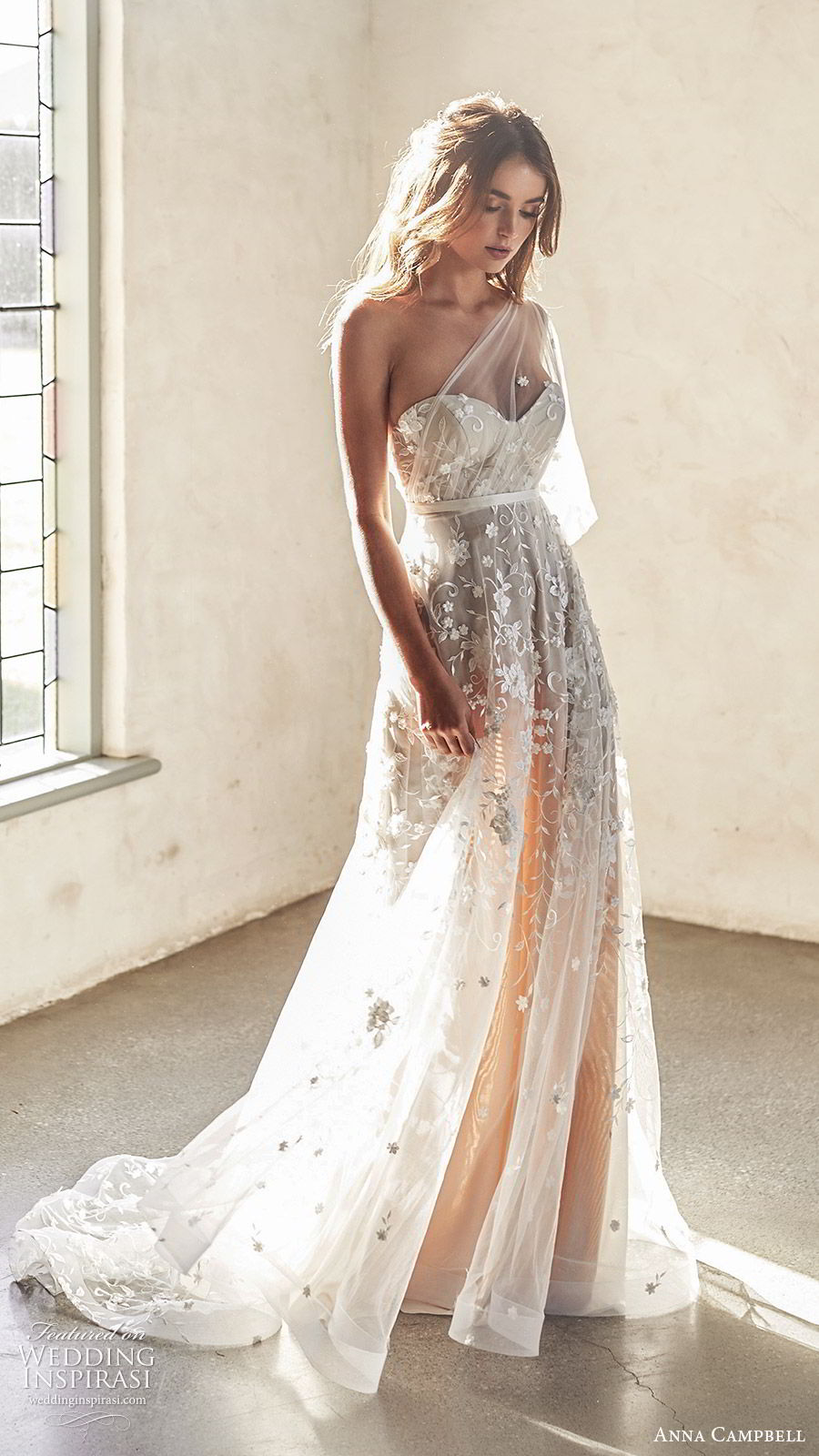 anna campbell 2020 bridal illusion one shoulder sweetheart ruched bodice fully embellished lace a line ball gown wedding dress (2) romantic boho blush color chapel train mv