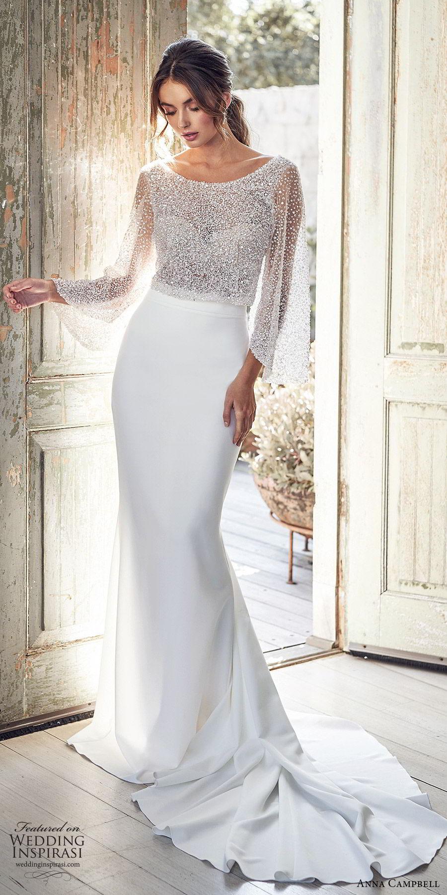 anna campbell 2020 bridal long flare sleeves bateau neckline heavily embellished bodice top sheath skirt wedding dress (5) glitzy glam elegant v back  chapel train mv