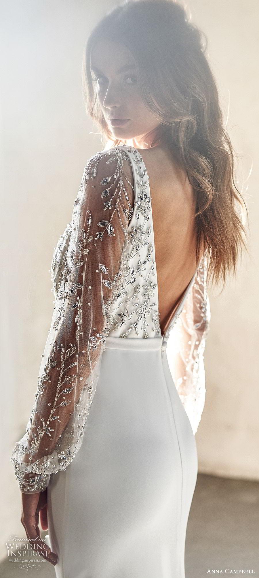 anna campbell 2020 bridal long illusion sleeves sleeveless thick straps deep v neckline embellished bodice clean skirt sheath wedding dress (1) elegant sexy low v back chapel train  zbv