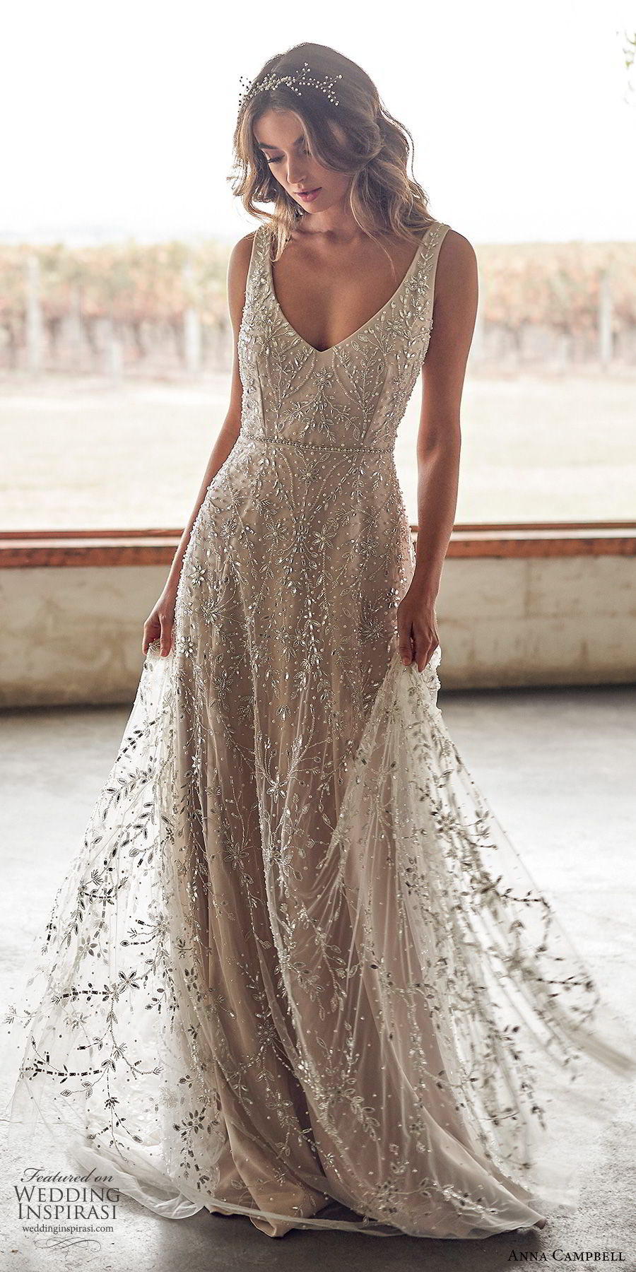 anna campbell 2020 bridal sleeveless beaded thick straps deep v neckline fully embellished ball gown a line wedding dress (8) glitzy glam blush romantic low v back chapel train mv