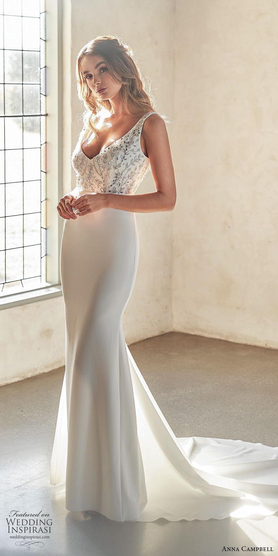 anna campbell 2020 bridal sleeveless thick straps deep v neckline embellished bodice clean skirt trumpet mermaid sheath wedding dress (1) elegant sexy low v back chapel train mv