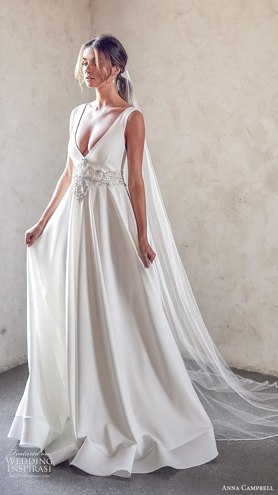 anna campbell 2020 bridal sleeveless thick straps deep v neckline embellished waist ball gown a line wedding dress (7) elegant sexy clean modern open back chapel train sv