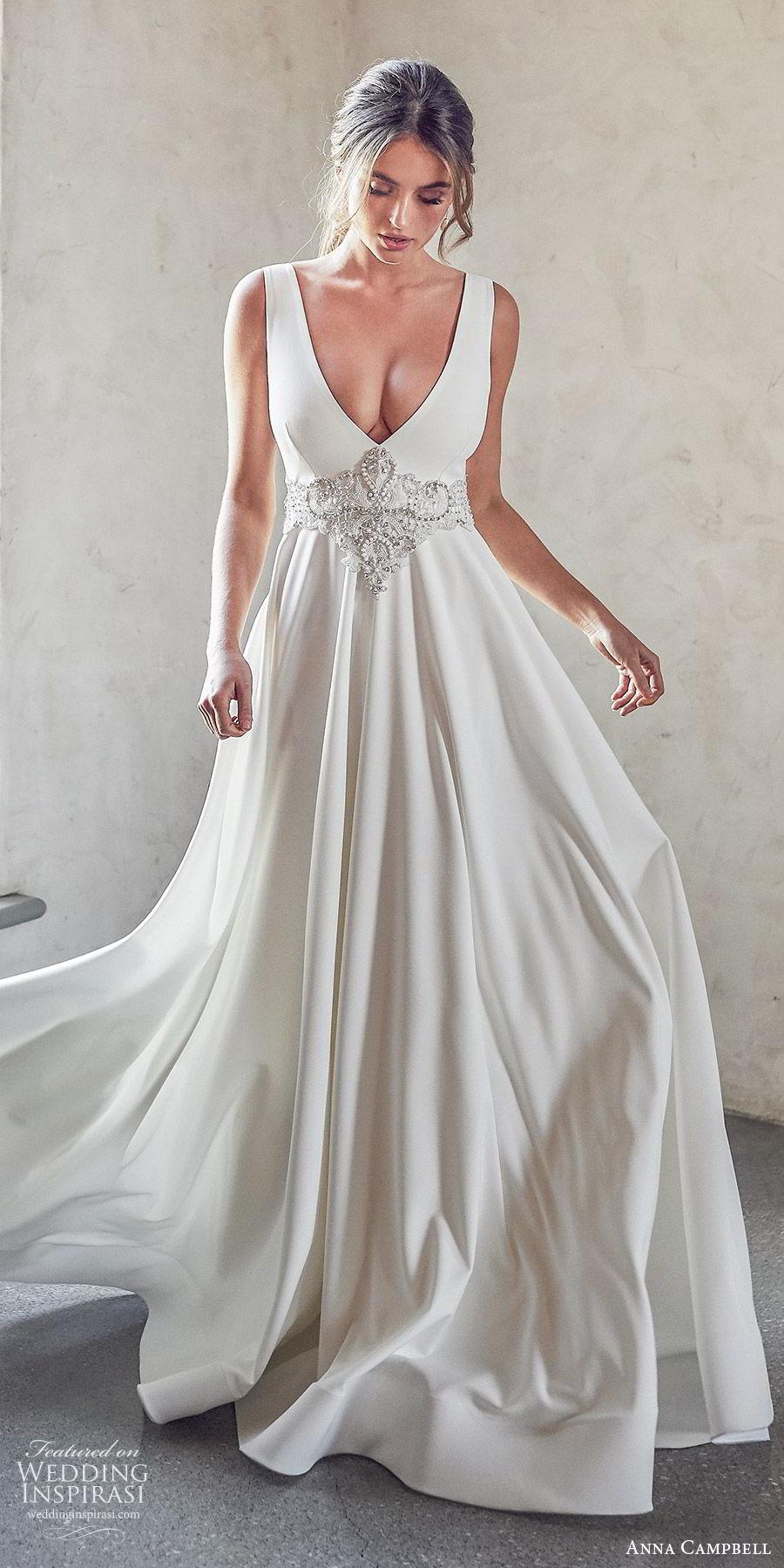 anna campbell 2020 bridal sleeveless thick straps deep v neckline embellished waist ball gown a line wedding dress (7) elegant sexy clean modern open back chapel train zv